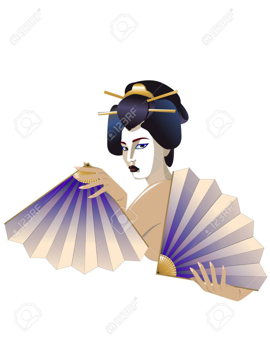 Drawing of the naked Japanese girl with fans on a white background Stock Vector - 8736911