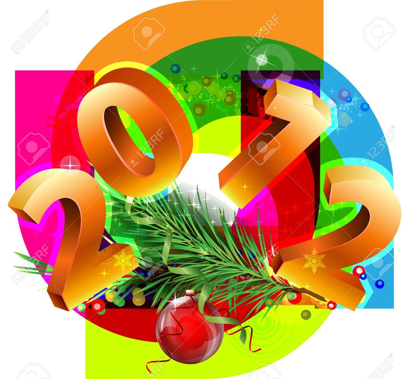 New Year decorative picture with the numbers 2012 Stock Vector - 11453991