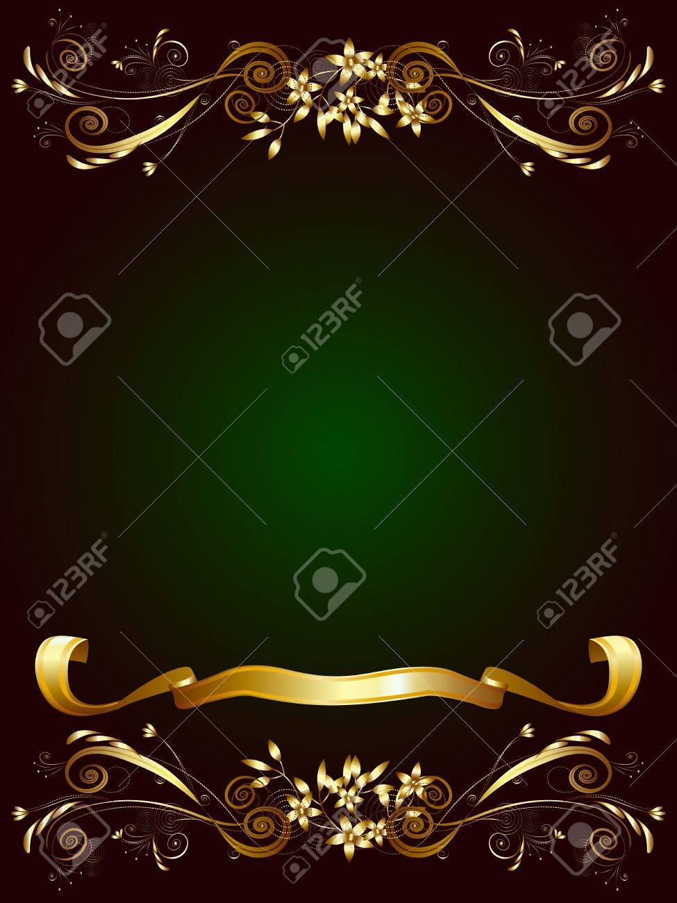 Decorative frame for text on a dark green background with gold floral ornaments and ribbon Stock Vector - 12759722