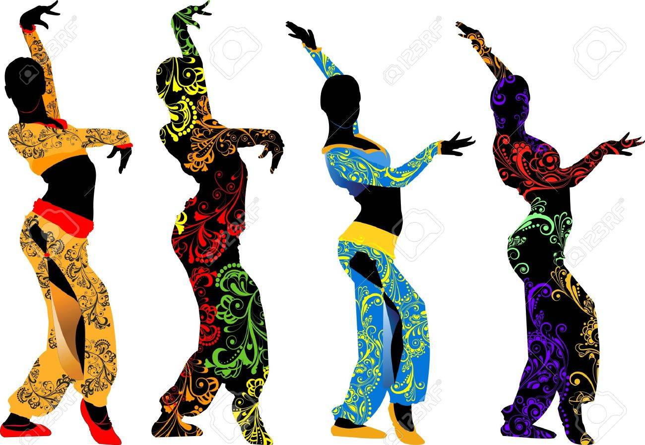 Silhouettes of dancers moving east with decorative accents on a transparent background Stock Vector - 13996431