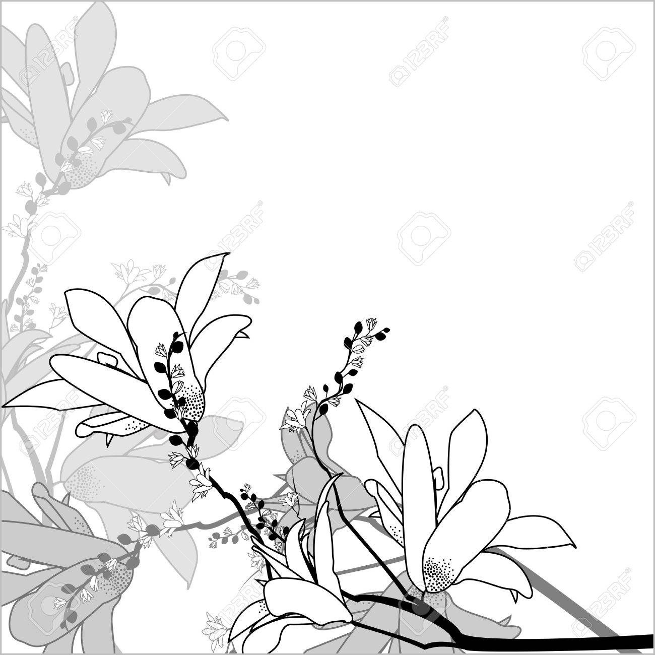 Floral arrangement in a square in a black and white Stock Vector - 14711474