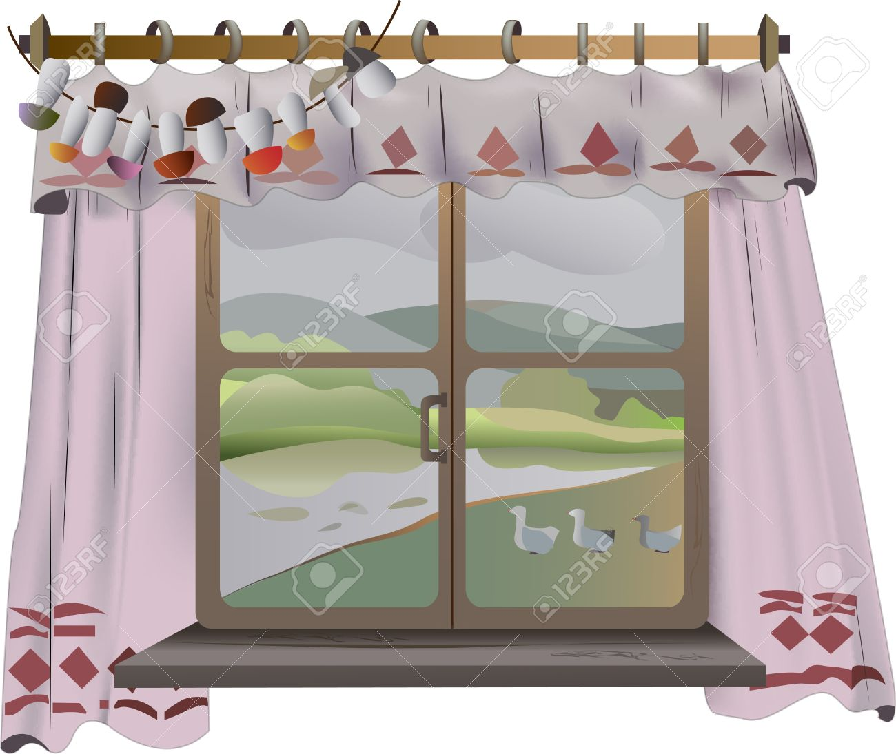 View from the window with the curtains rural landscape on white background Stock Vector - 15069063