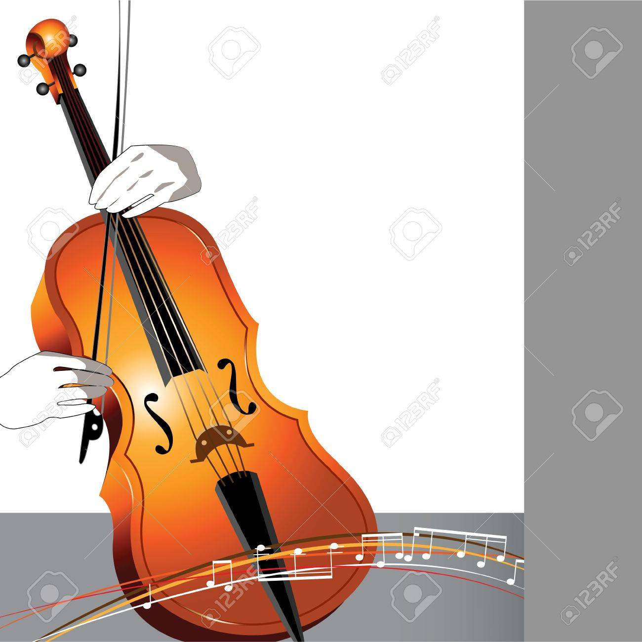 Abstract cello and musician on white and gray background with