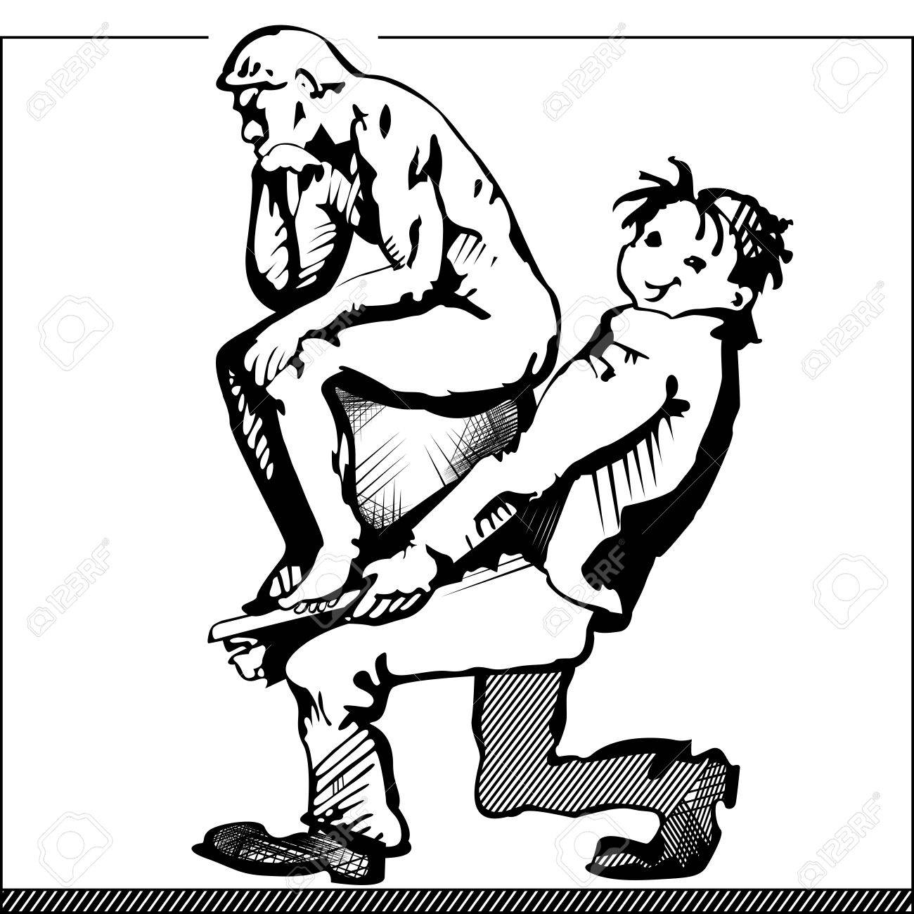 Cartoon image of a man carrying a sculpture of Rodin's Thinker in black and white on a white background symbolizing the selection of personnel for production Stock Vector - 19117988