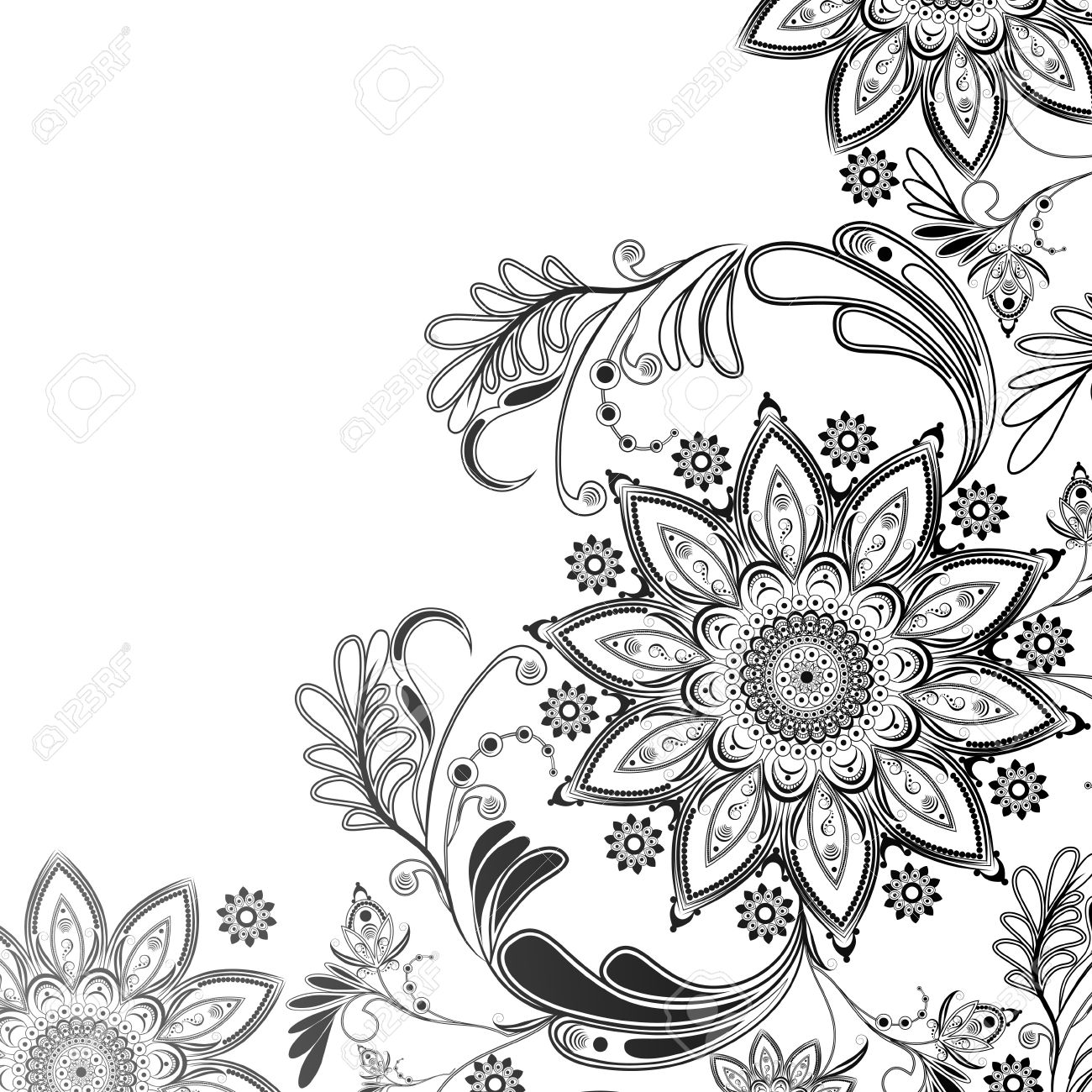 Abstract floral pattern in black and white on the eastern motif on a transparent background stock