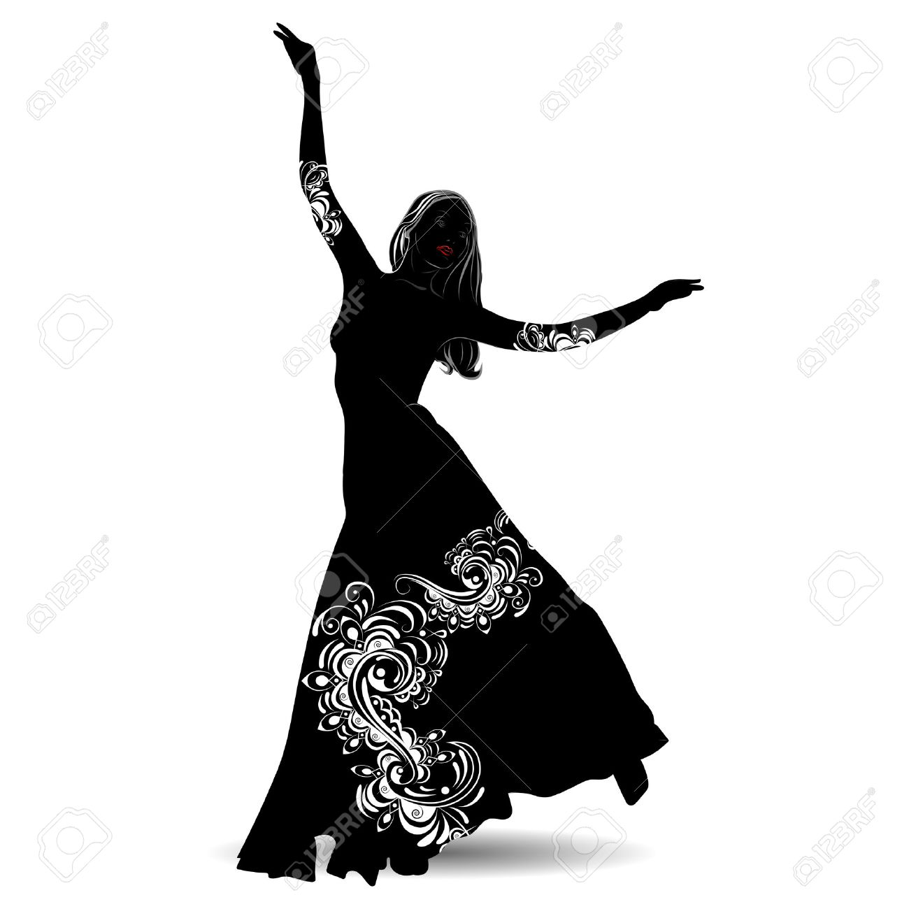 Silhouette belly dancer with designs on the outfit on white background - 55080512