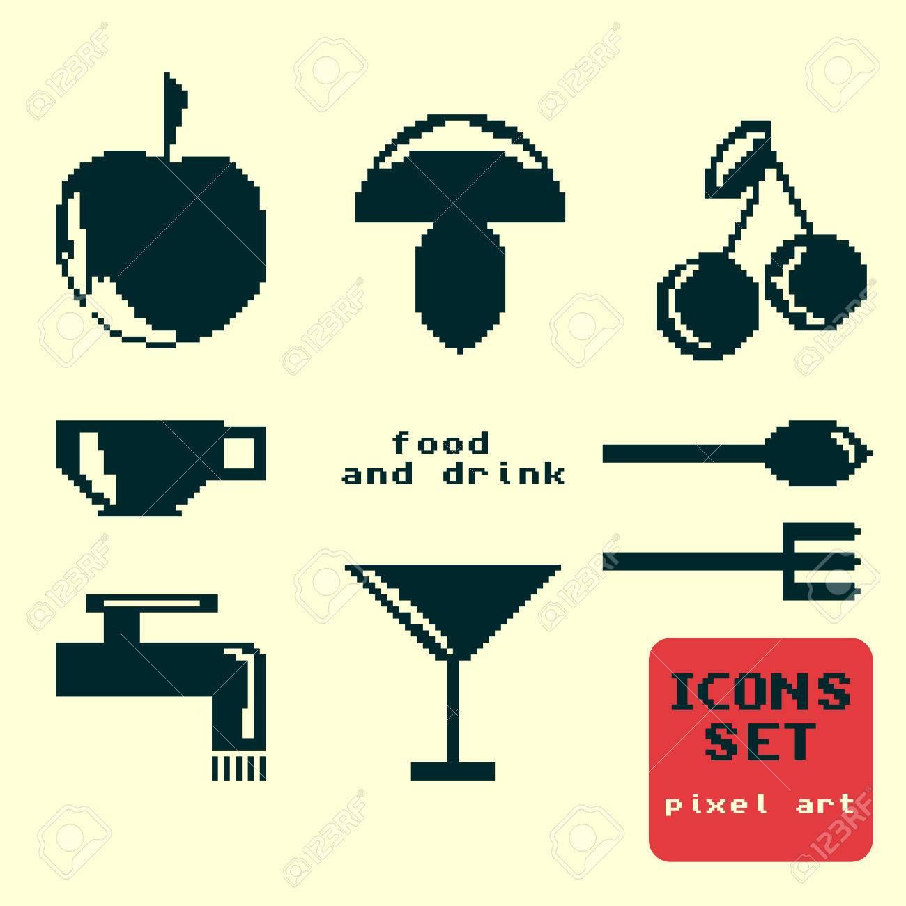 Silhouettes Dicônes De Pixel Nourriture Et Boisson Sur Un Fond Jaune Clair