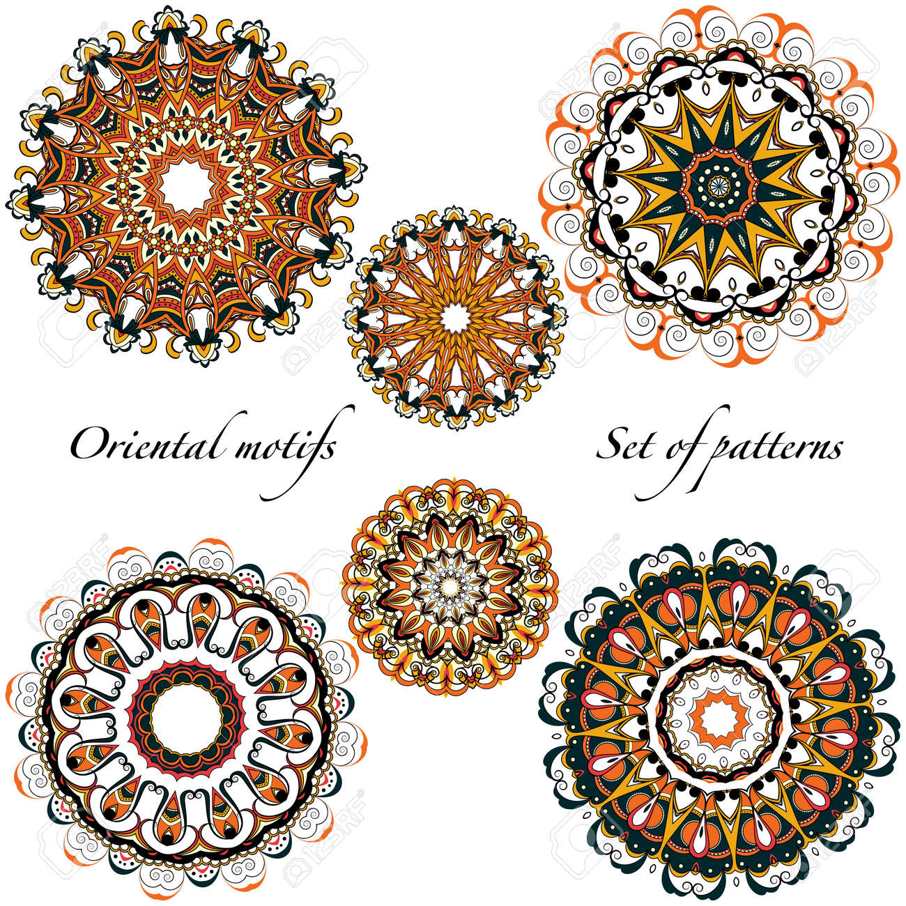 Oriental motifs, mandalas in a warm - 159893538