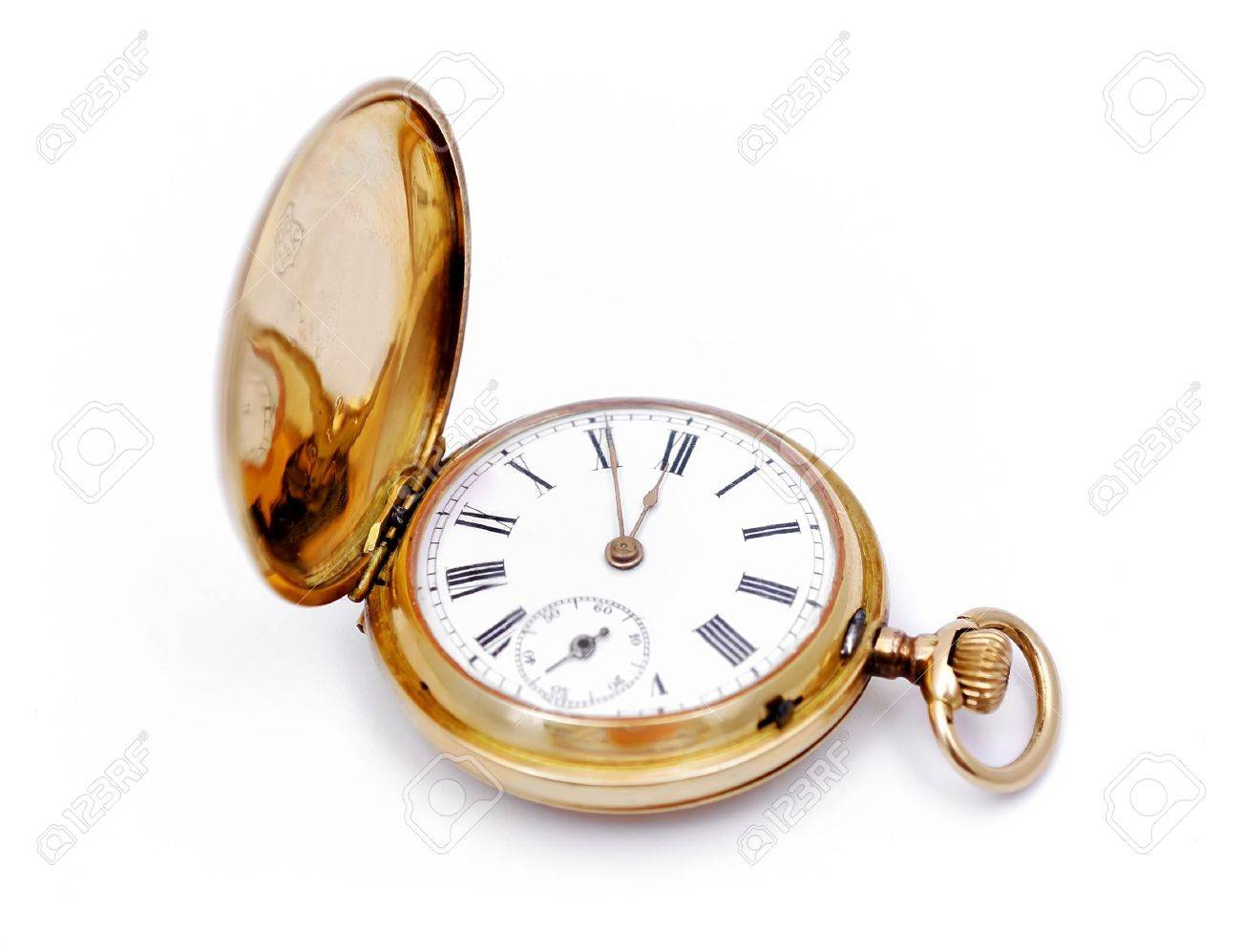 old gold pocket watch on a white background Stock Photo - 7396542
