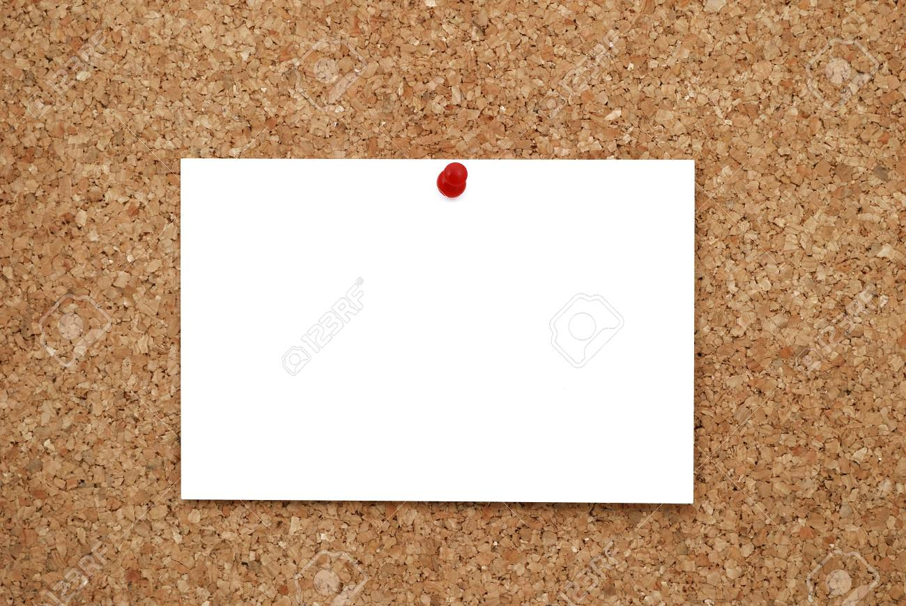 white sheet of paper pinned to cork  bulletin board Stock Photo - 7905903