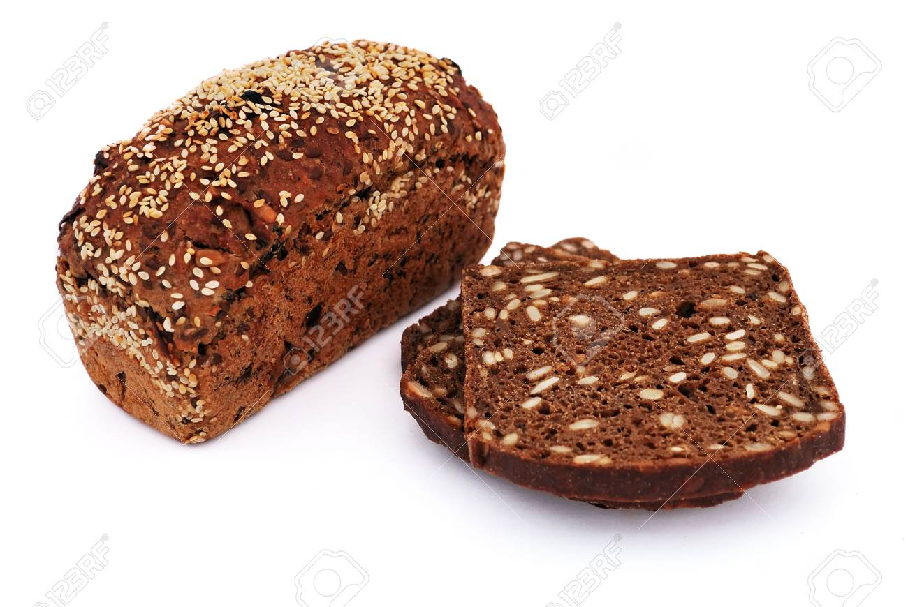 bread with sesame seeds on a white background Stock Photo - 7906142