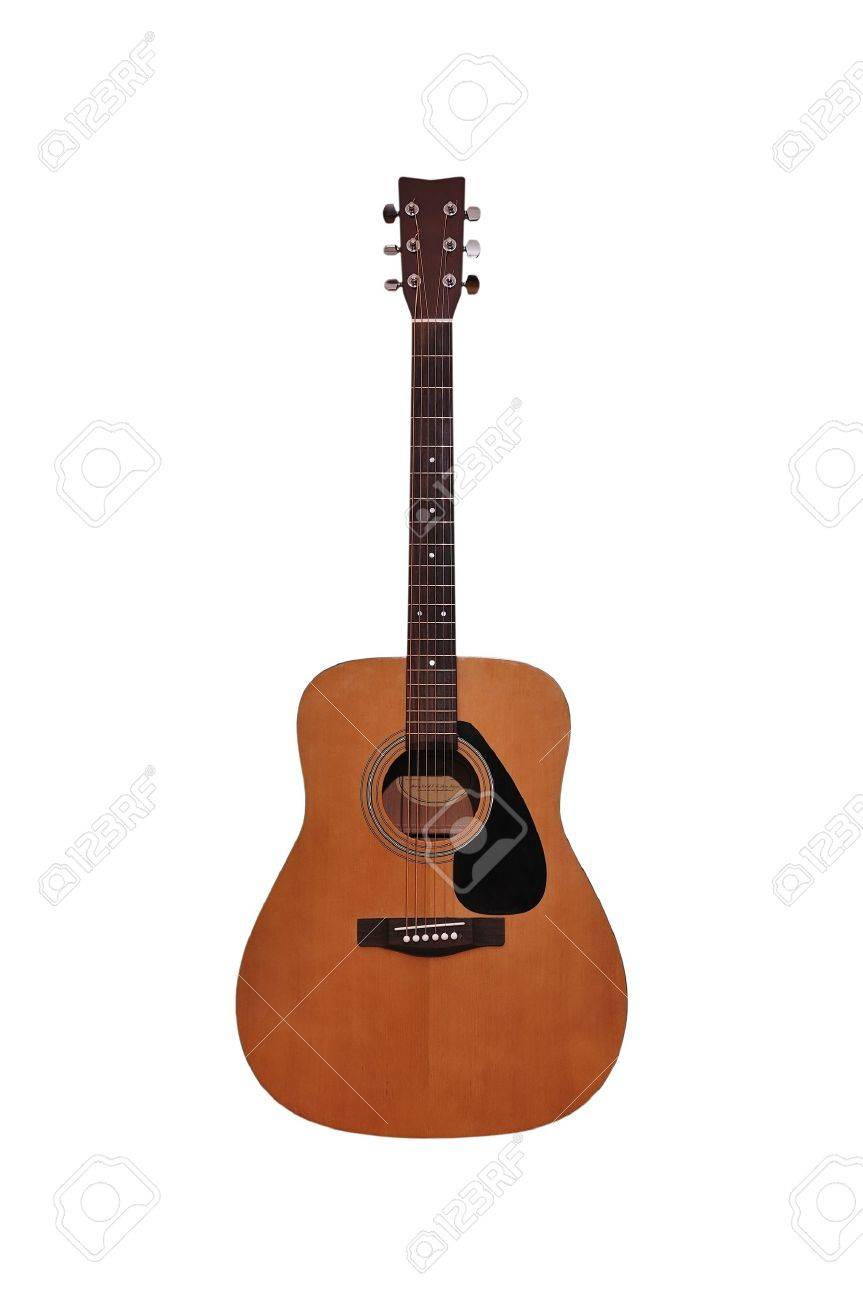 Acoustic Guitar On A White Background Stock Photo Picture And