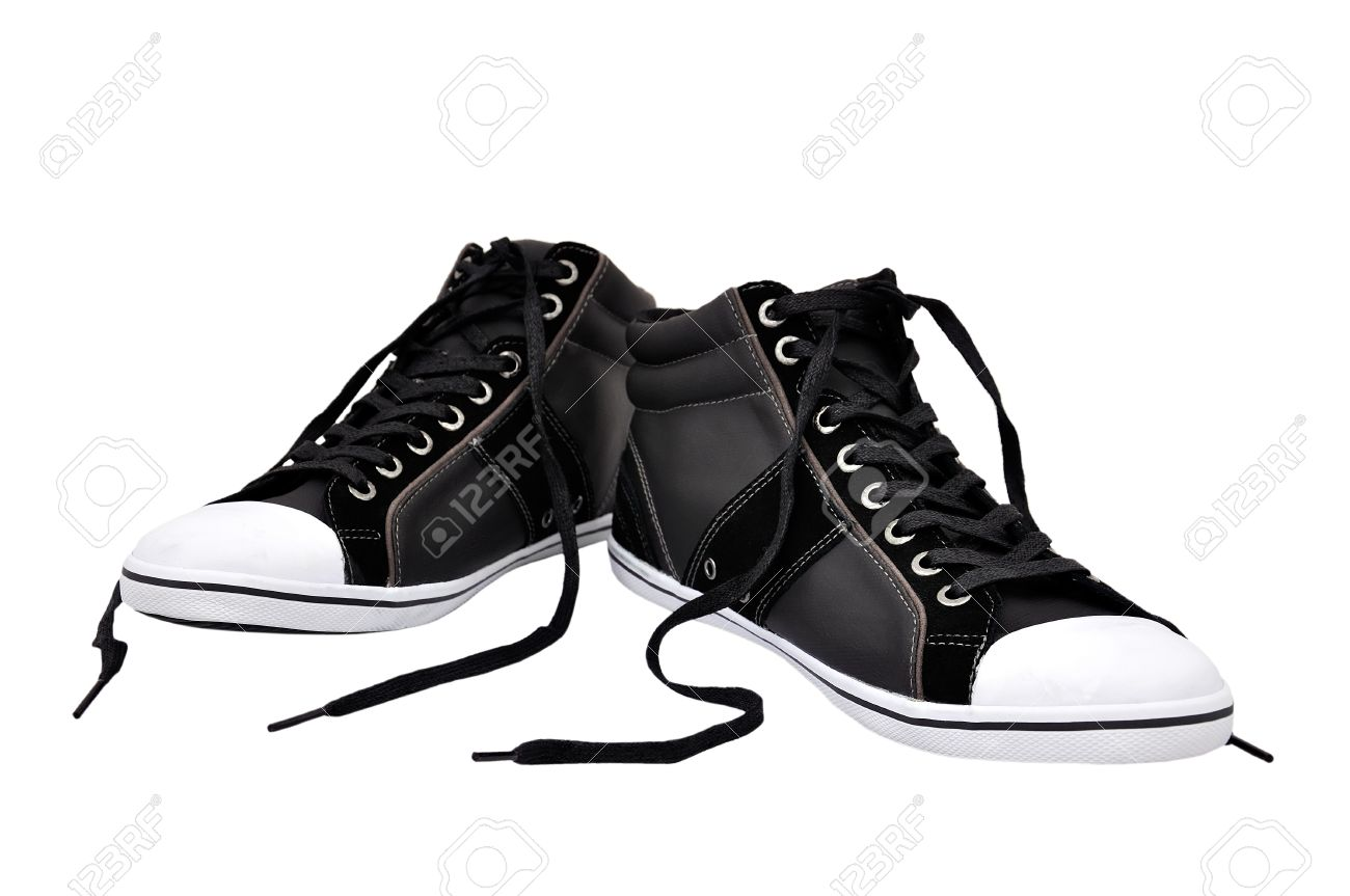running shoes with untied lacess on a white background Stock Photo - 13725240