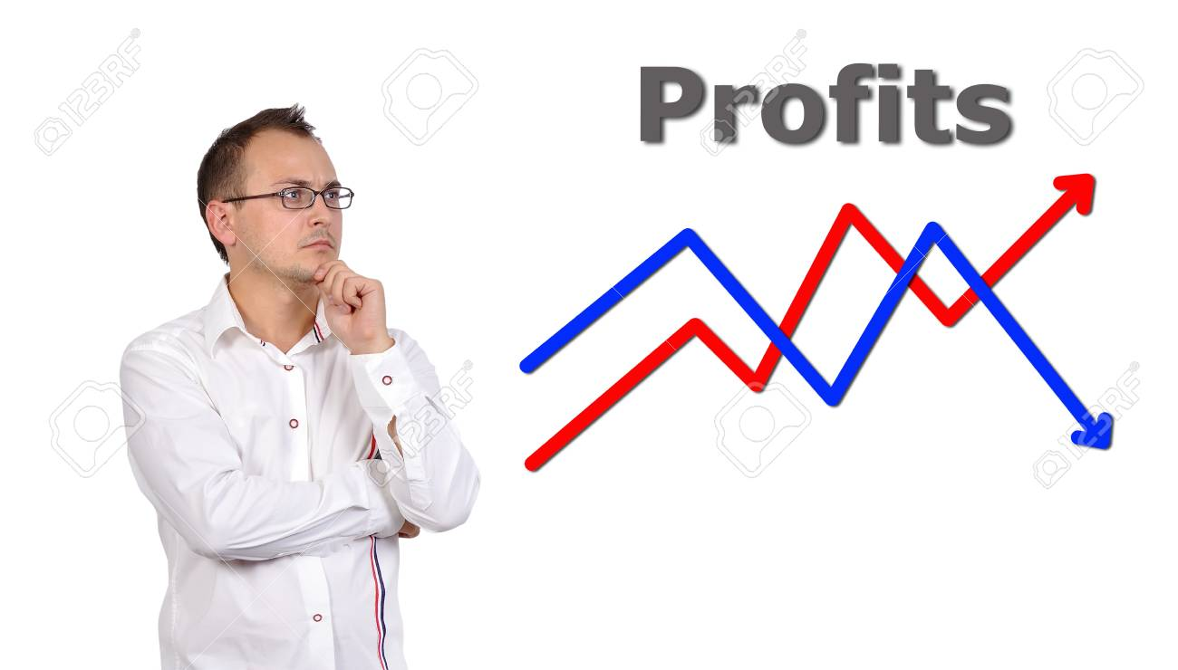 pensive businessman looking at growth chart profit Stock Photo - 15571669