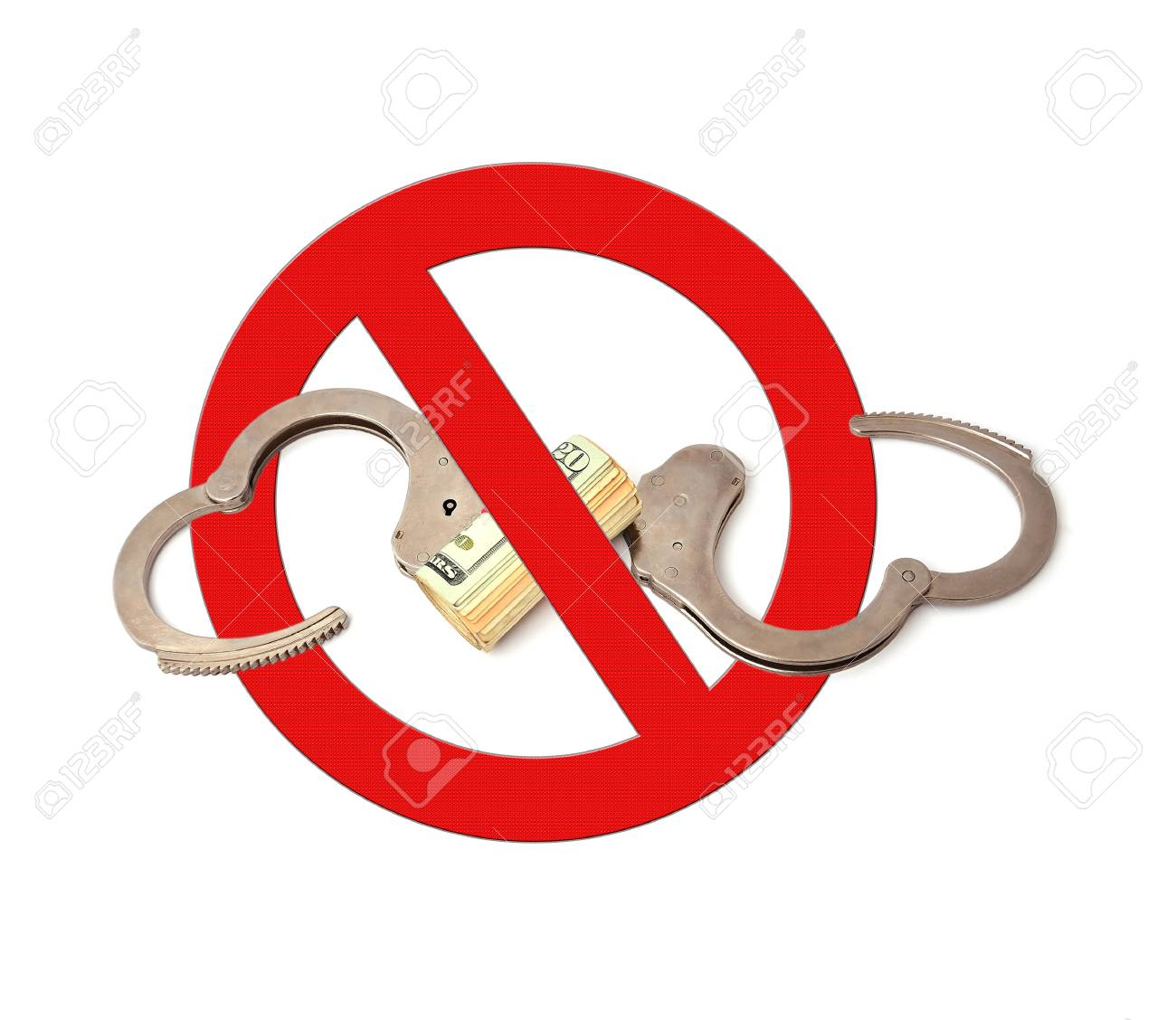 sign prohibiting handcuffs on white background Stock Photo - 15657073