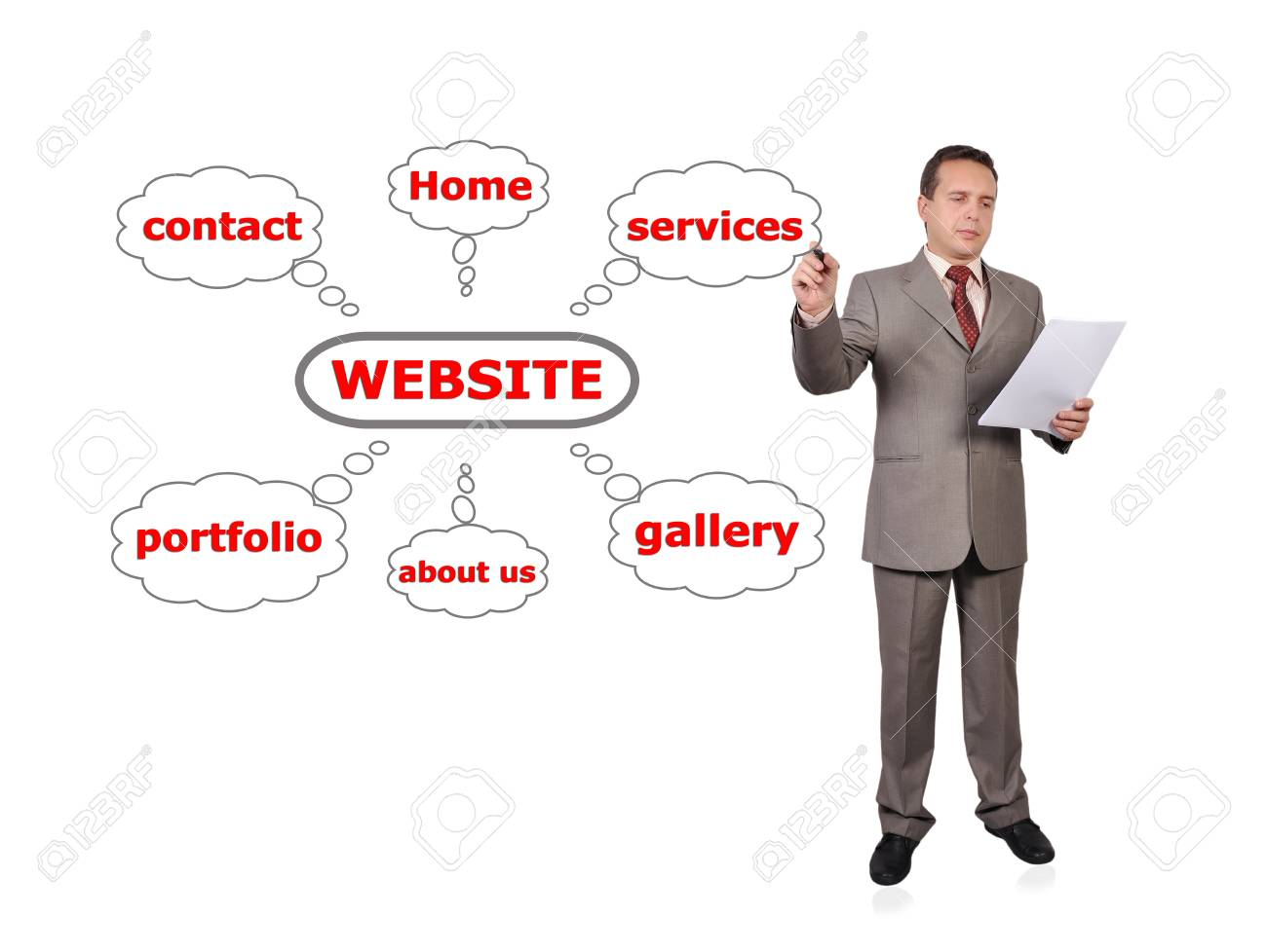 Businessman drawing scheme web site Stock Photo - 16192660
