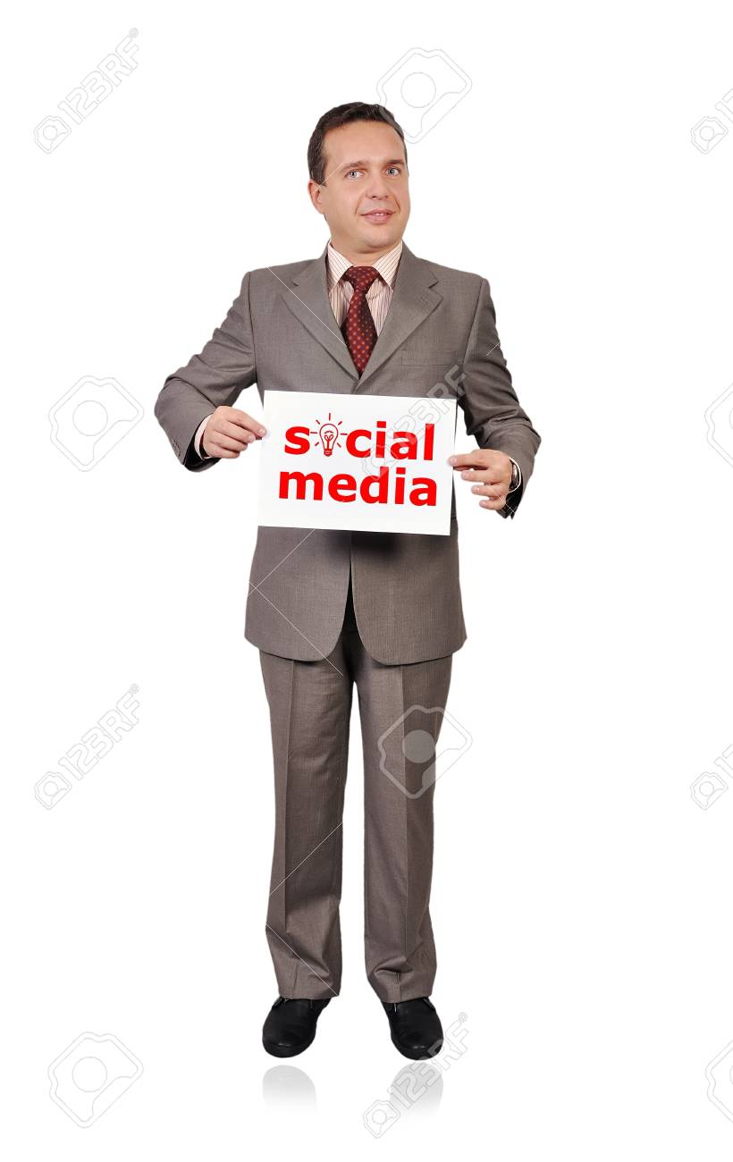 businessman holding a sign saying success Stock Photo - 16192659