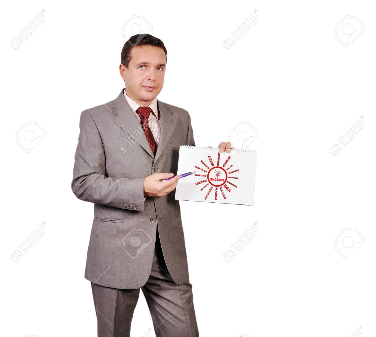 businessman holding a placard with success scheme Stock Photo - 16192663