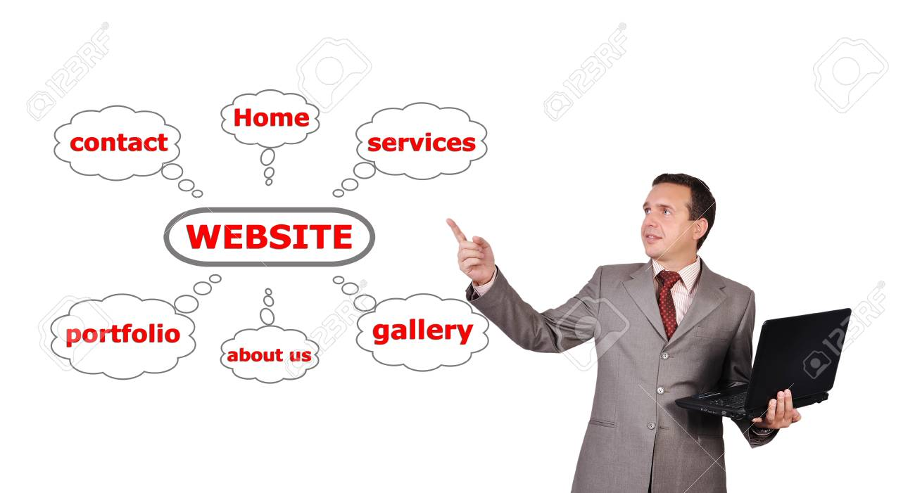 man with a laptop in hand points to website scheme Stock Photo - 16192674