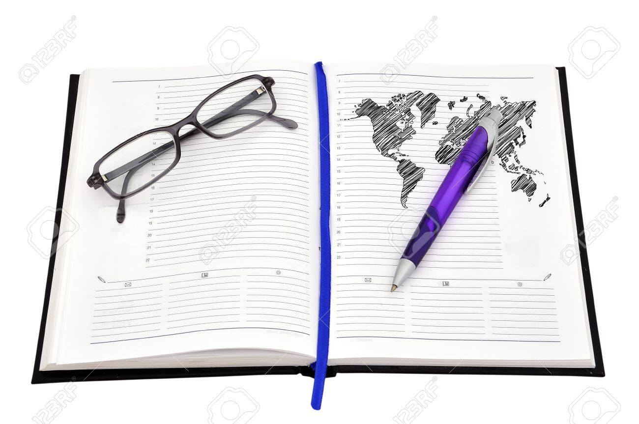Drawing world map on diary pen and glasses stock photo picture drawing world map on diary pen and glasses stock photo 16888046 sciox Images