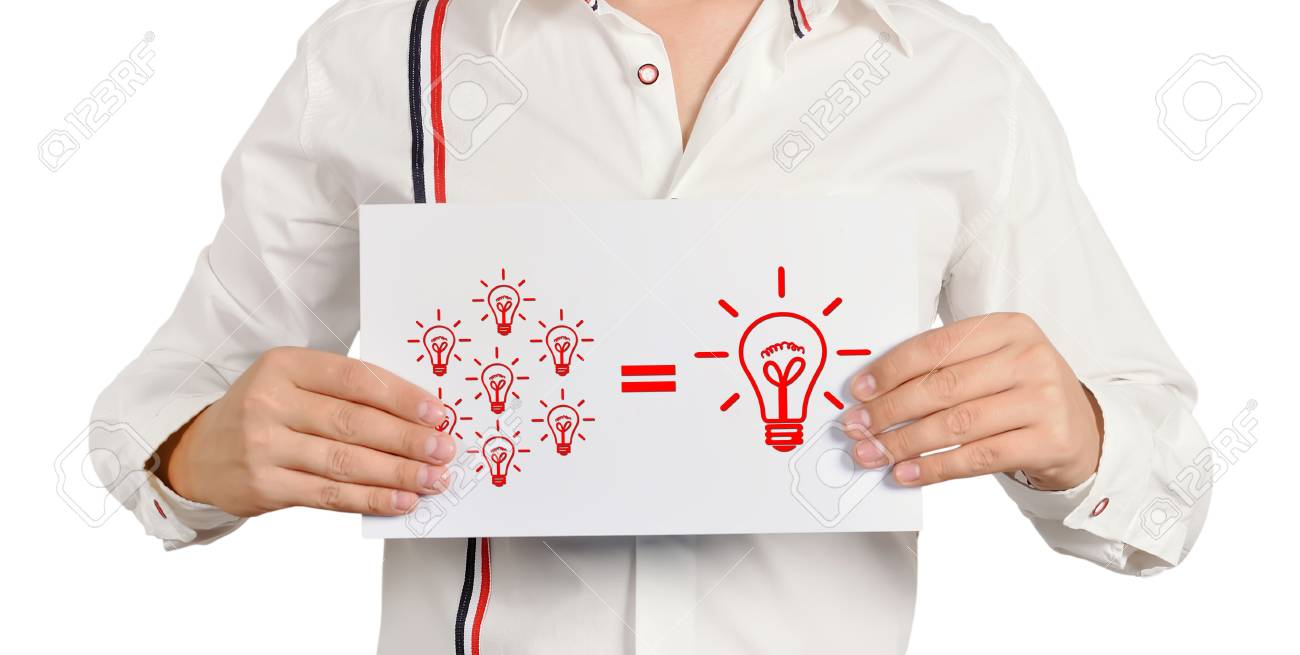 sman holding a placard with business formula Stock Photo - 17218564