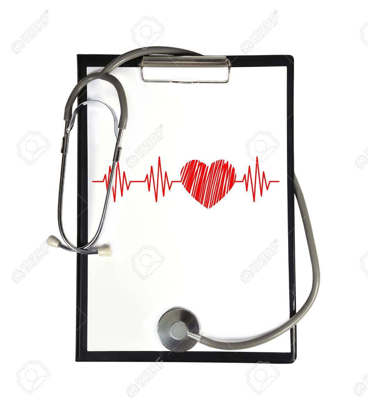 Heartbeat Drawing Clipboard And Stethoscope Stock Photo Picture And