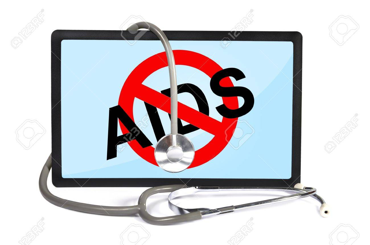 stethoscope and  touchpad with no aids symbol Stock Photo - 17472646