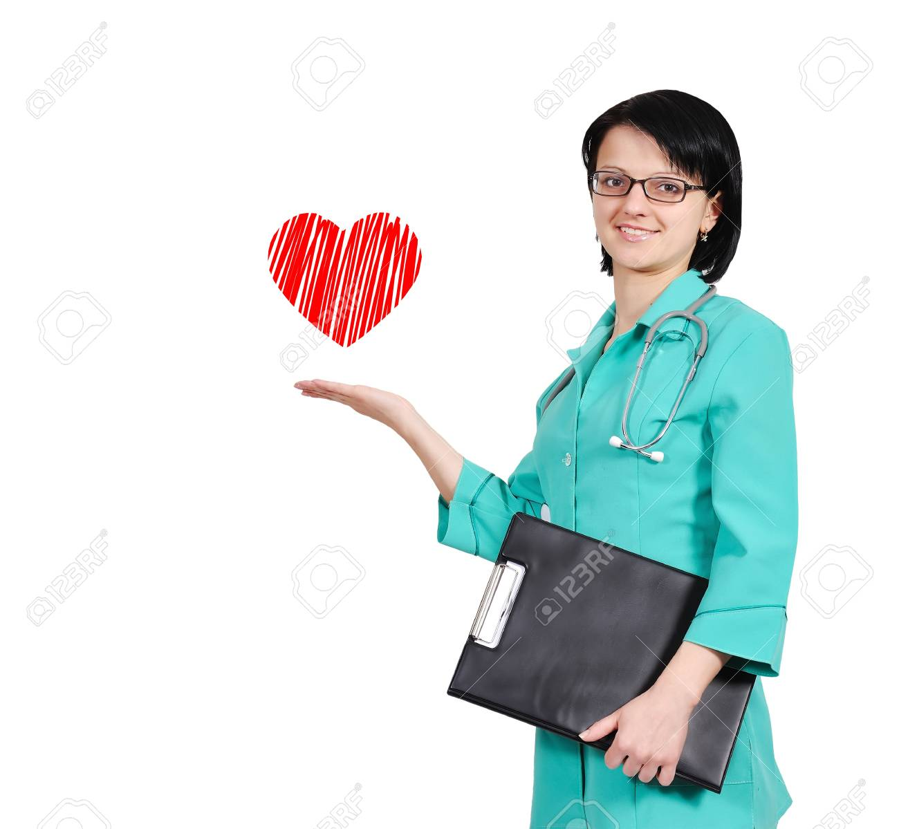 happy smiling young female doctor with clipboard Stock Photo - 17498719