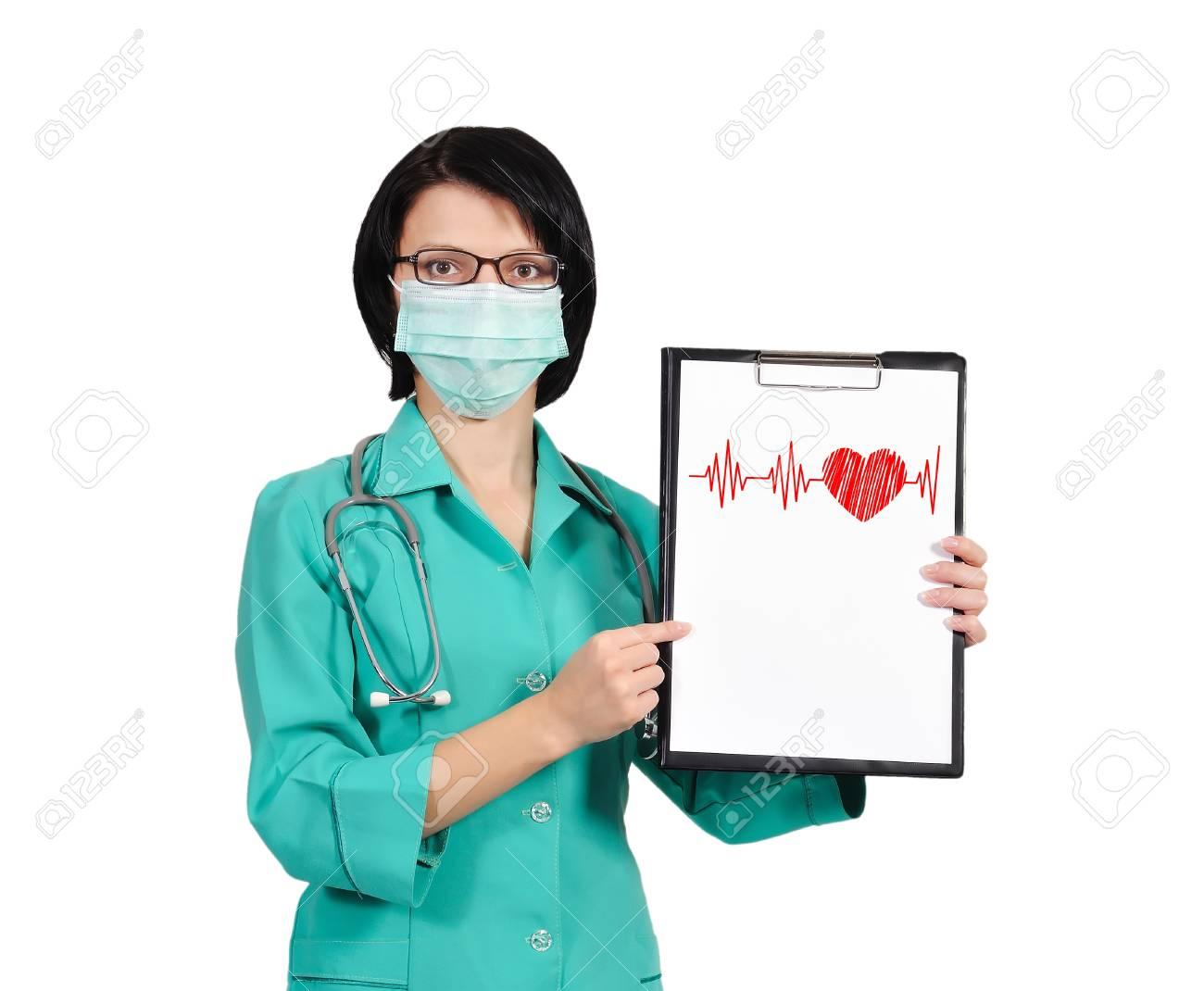 female nurse with clipboard on white background Stock Photo - 17601591