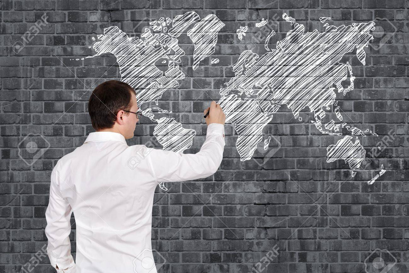 Businessman drawing world map on wall stock photo picture and businessman drawing world map on wall stock photo 17750174 gumiabroncs Images
