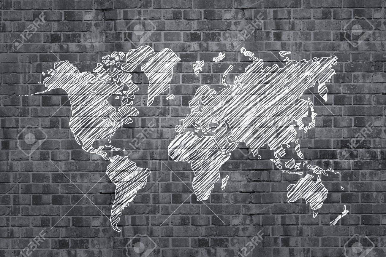 Drawing world map on brick wall stock photo picture and royalty drawing world map on brick wall stock photo 17844008 gumiabroncs Images
