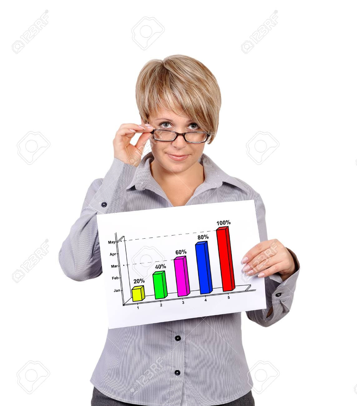 businesswoman holding a placard with profits Stock Photo - 18005860