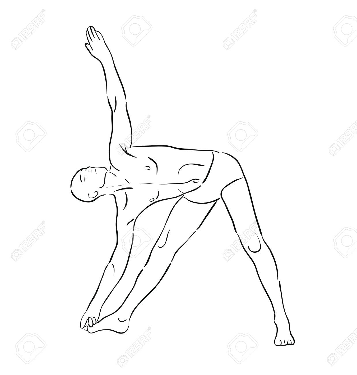 man practicing yoga in position Stock Vector - 18386057
