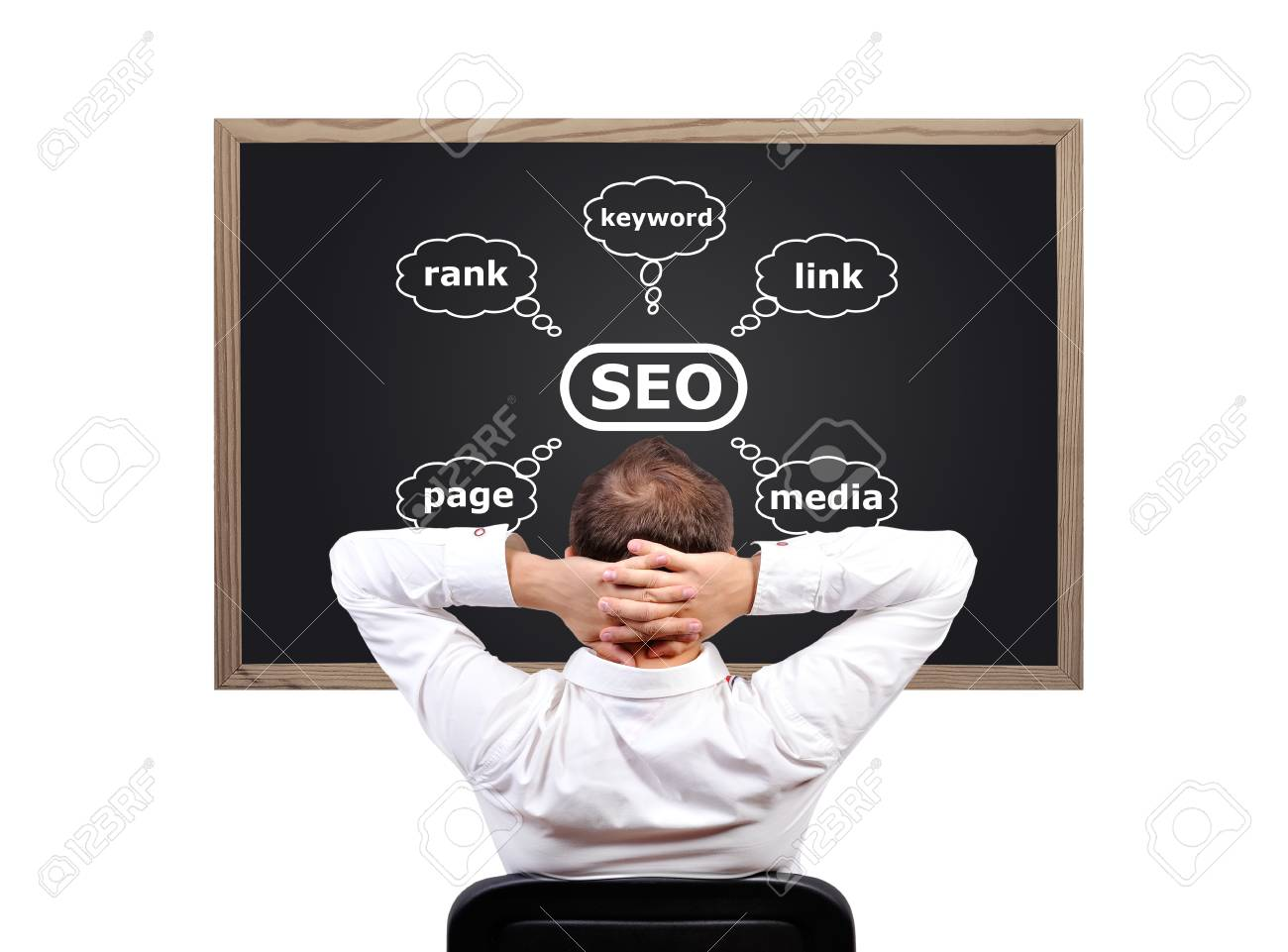 businessman looking on blackboard with seo scheme Stock Photo - 19119024