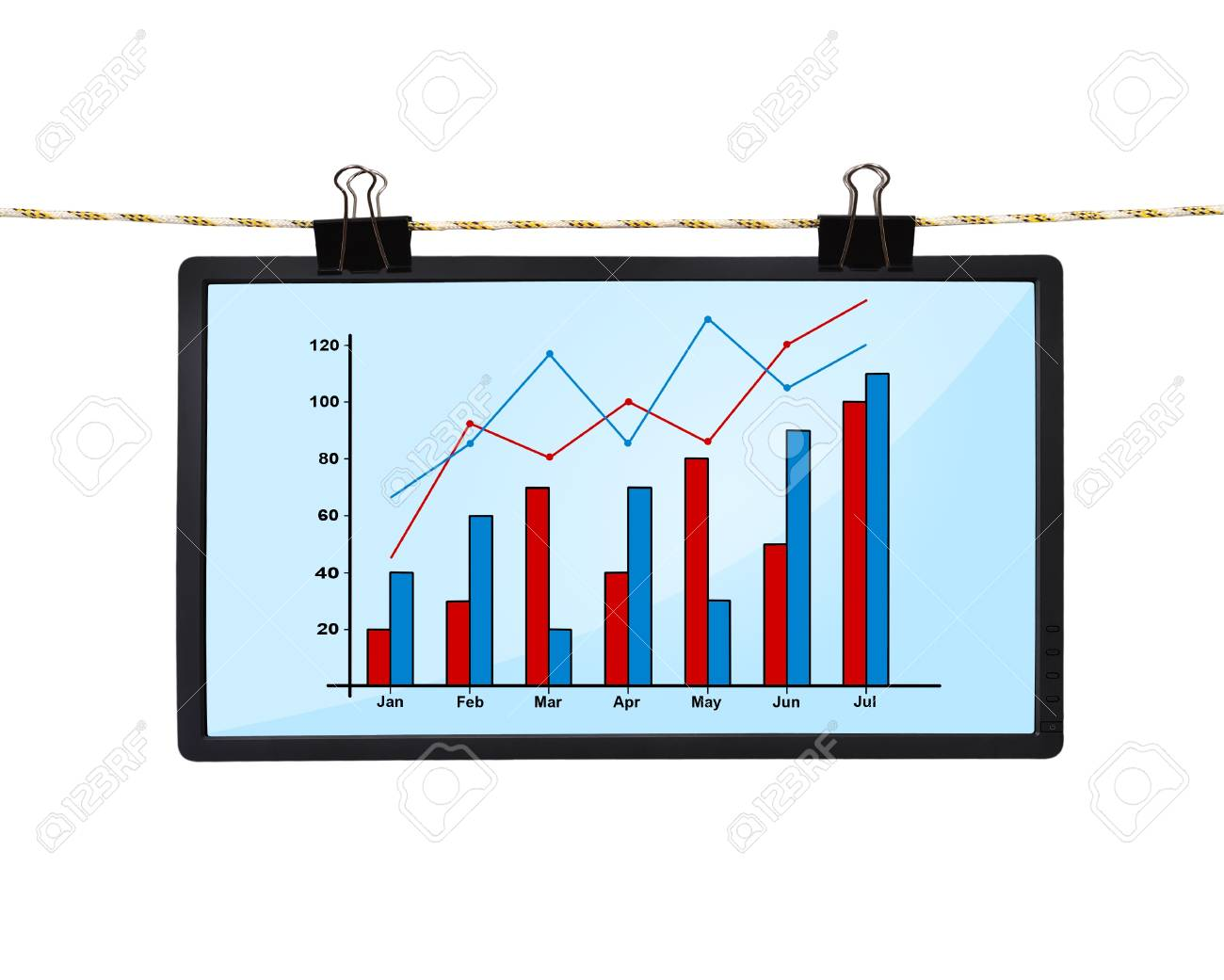 lcd screen with chart hanging on a rope stock photo - 19331716