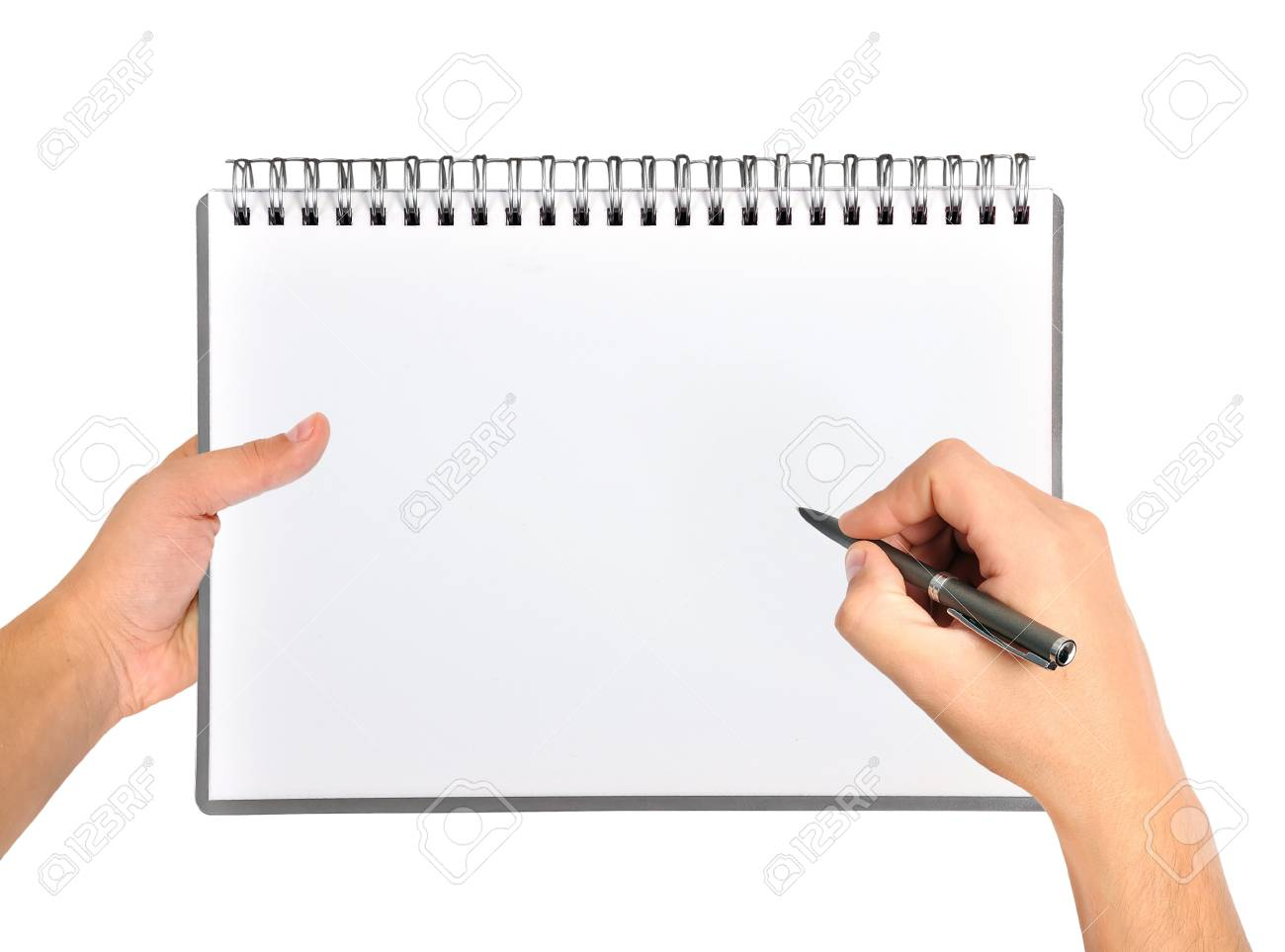 hand drawing in blank notebook Stock Photo - 19753574