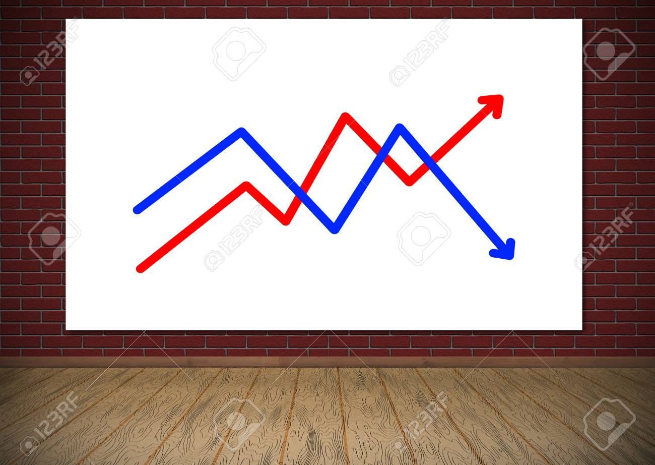 poster with chart hanging on red brick wall stock photo picture and