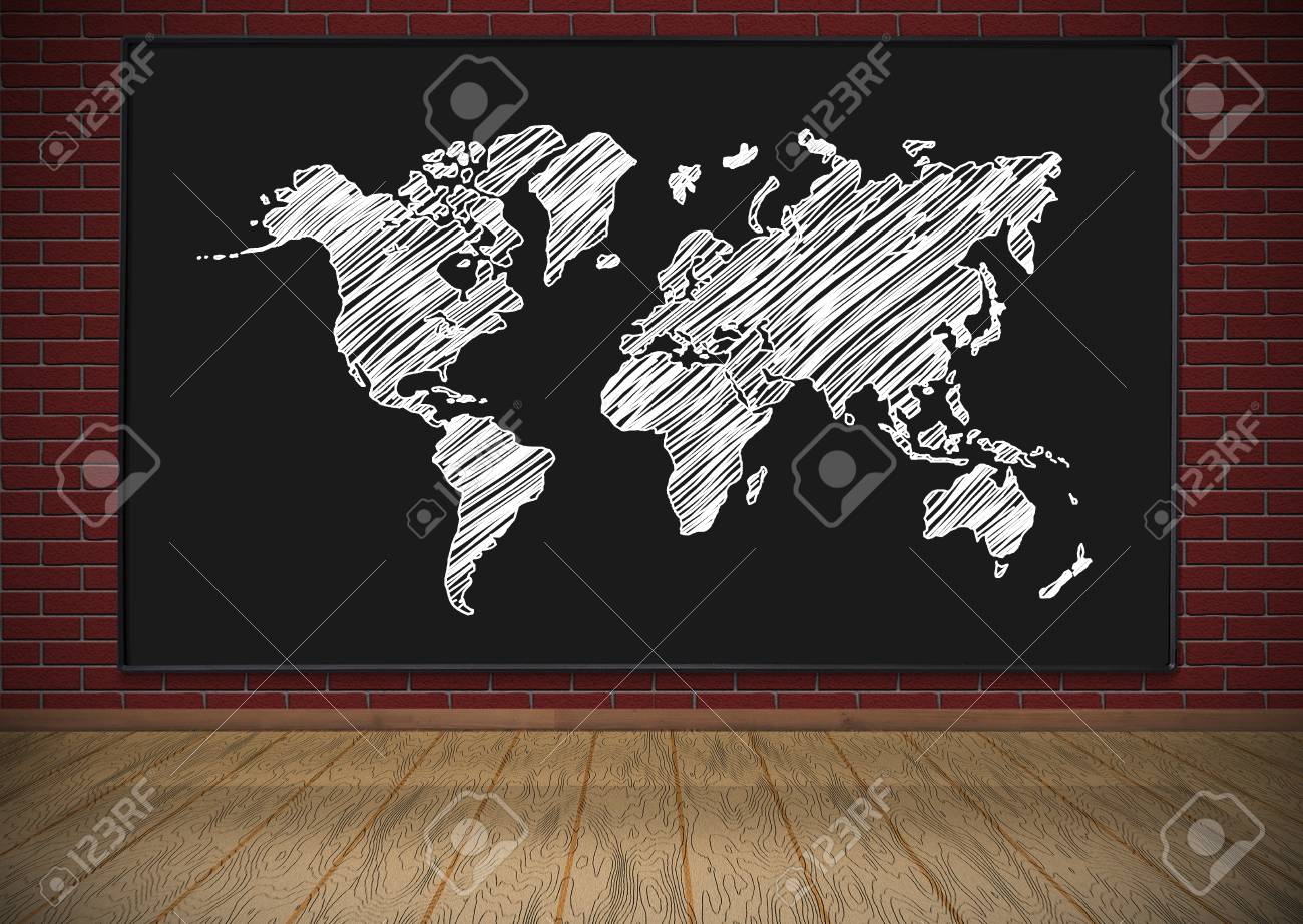 Blackboard with drawing world map hanging on red brick wall stock blackboard with drawing world map hanging on red brick wall stock photo 34180050 gumiabroncs Gallery