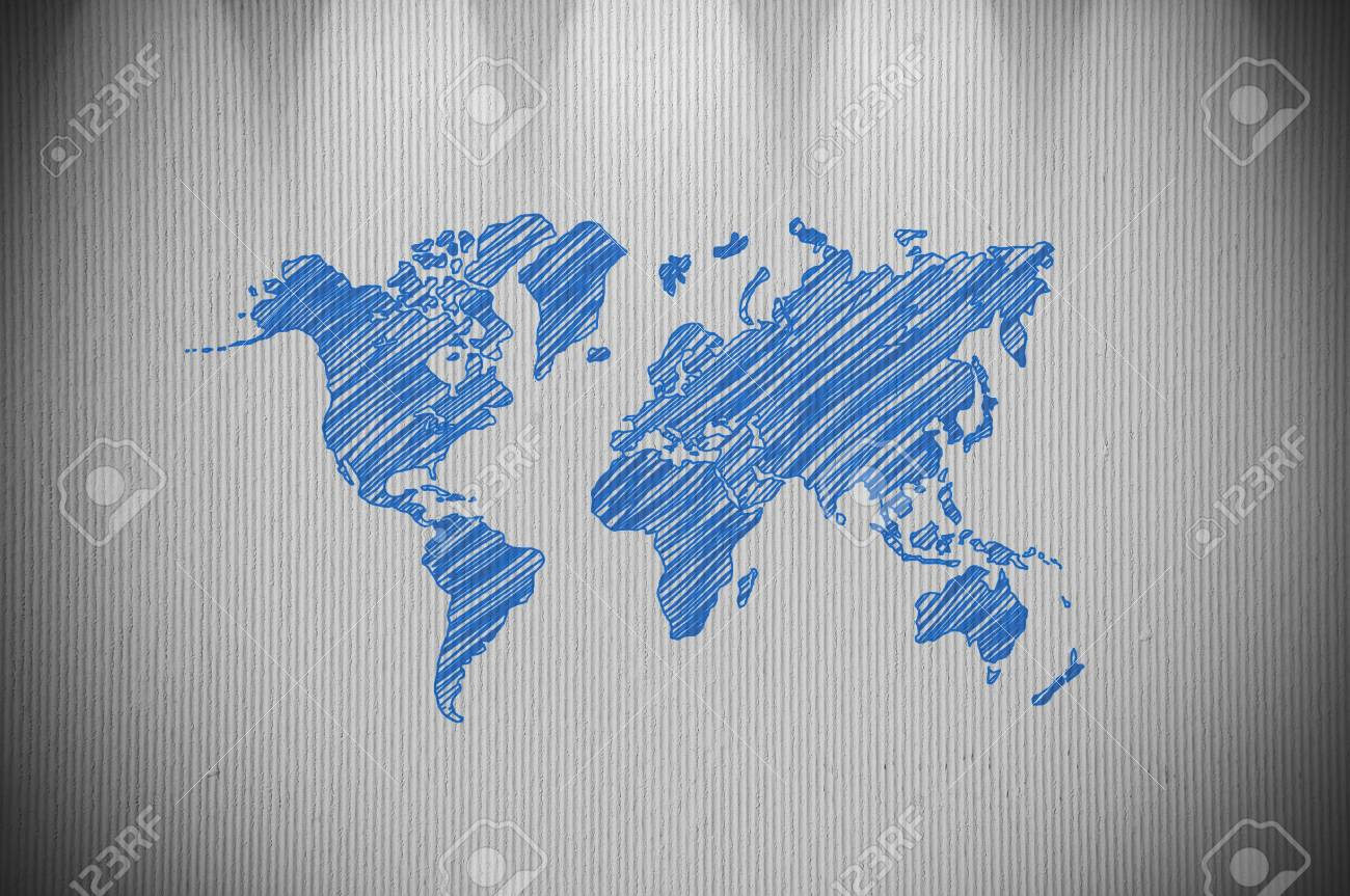 World map drawing on concrete wall textured stock photo picture and stock photo world map drawing on concrete wall textured gumiabroncs Image collections