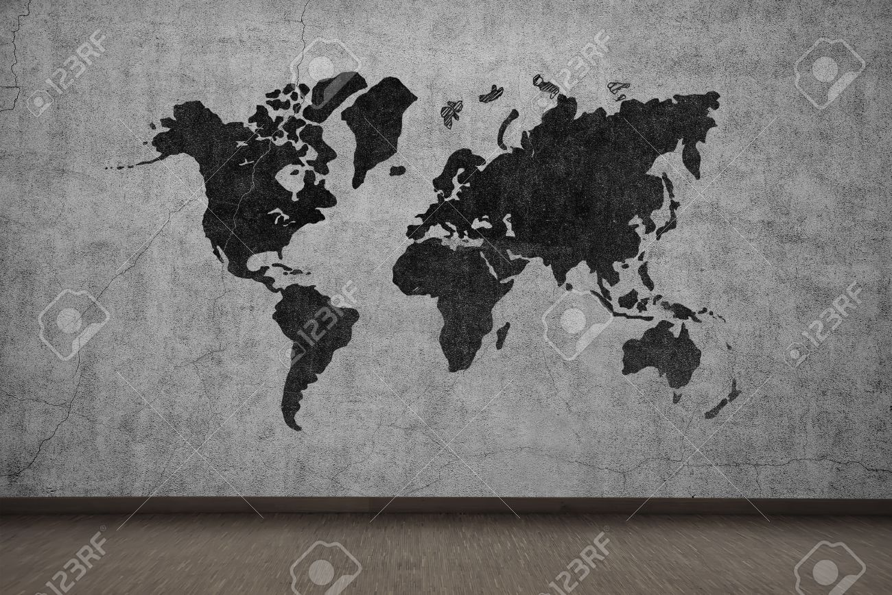 Drawing world map on gray concrete wall stock photo picture and drawing world map on gray concrete wall stock photo 36453817 gumiabroncs Choice Image