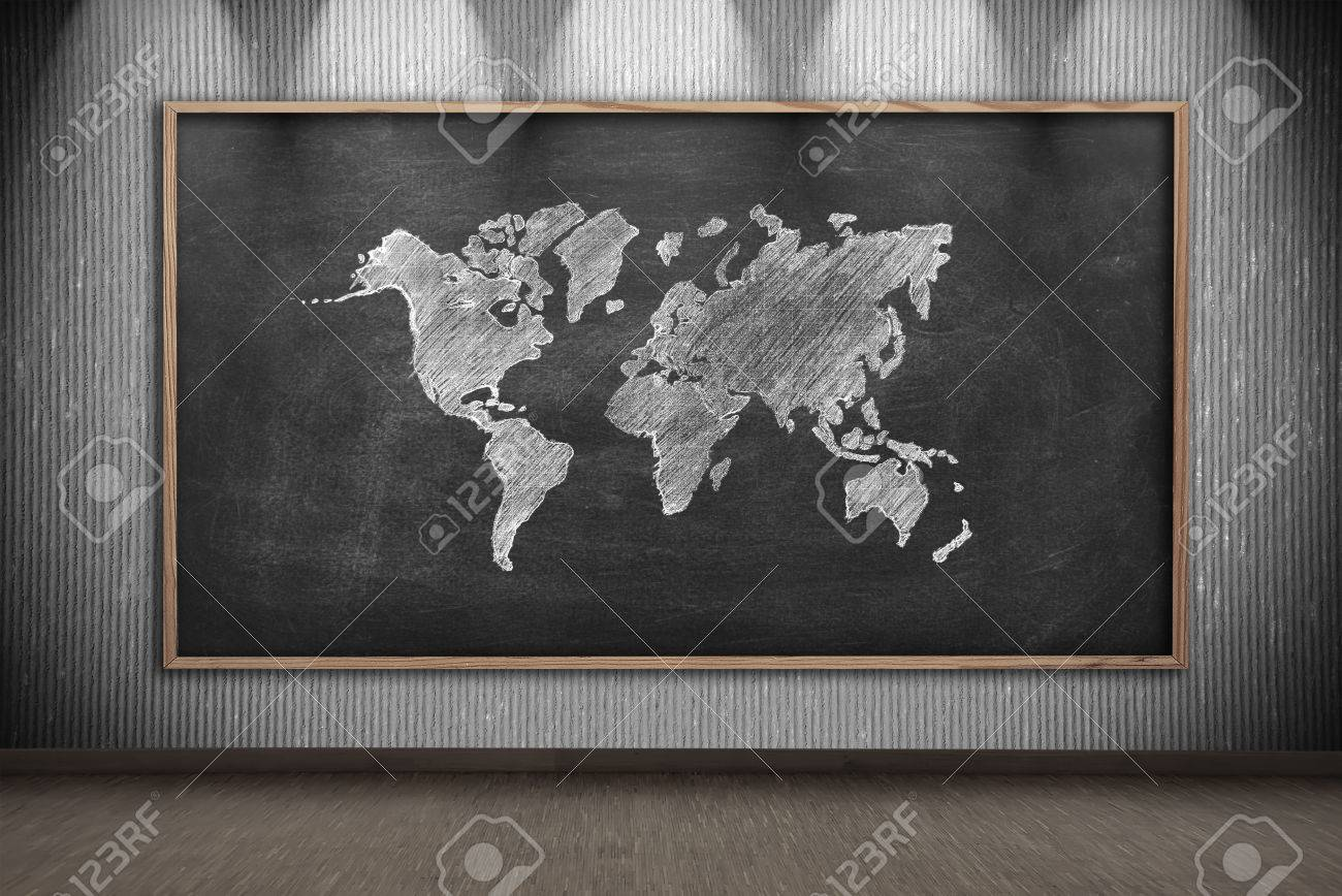 Blackboard with drawing world map on wall in gray room stock photo blackboard with drawing world map on wall in gray room stock photo 43366452 gumiabroncs Choice Image