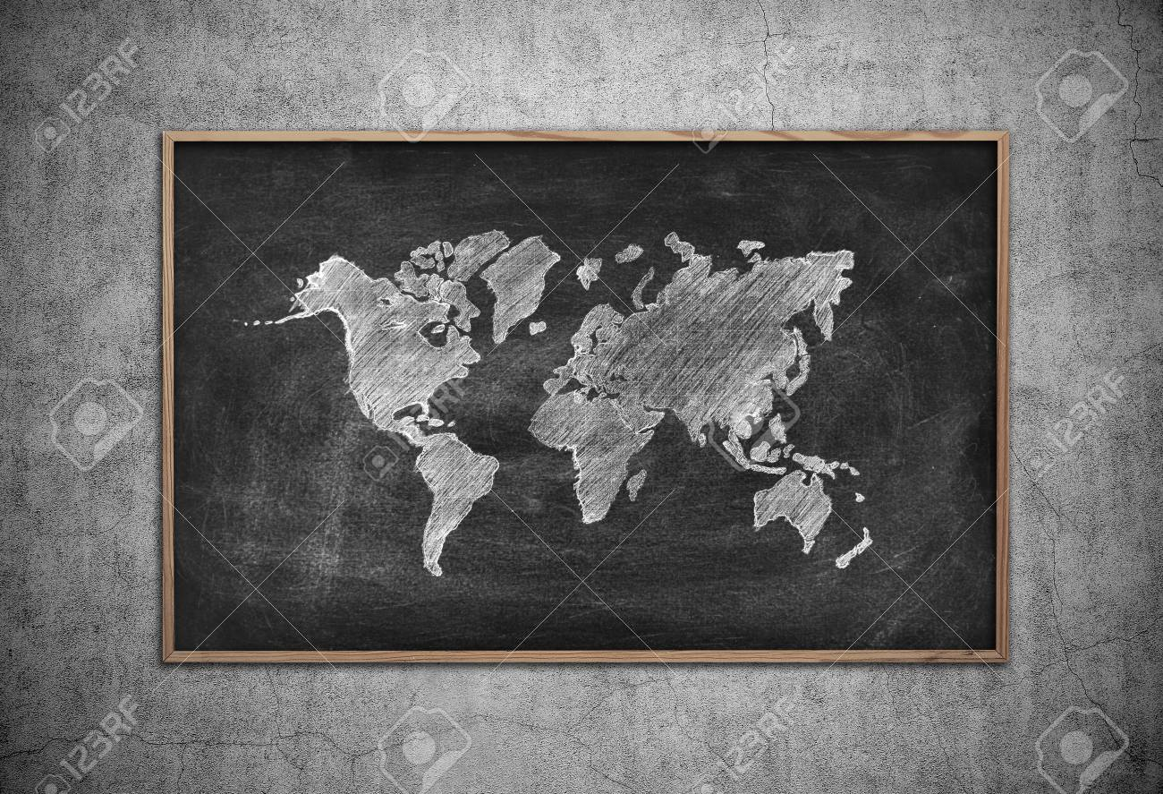 Chalk board with drawing world map on wall stock photo picture and chalk board with drawing world map on wall stock photo 43366459 gumiabroncs Images
