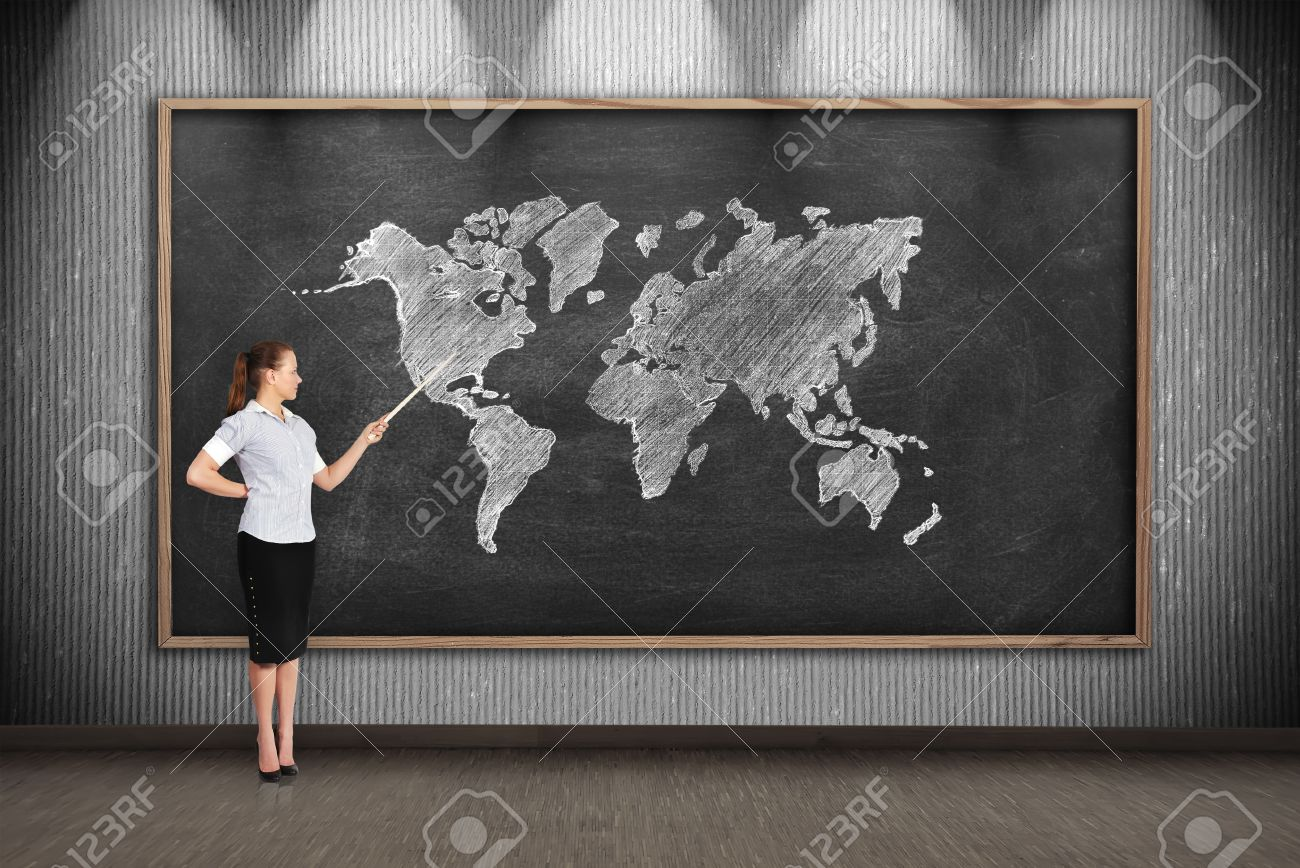 Teacher with pointer point to drawing world map on blackboard stock stock photo teacher with pointer point to drawing world map on blackboard gumiabroncs Image collections