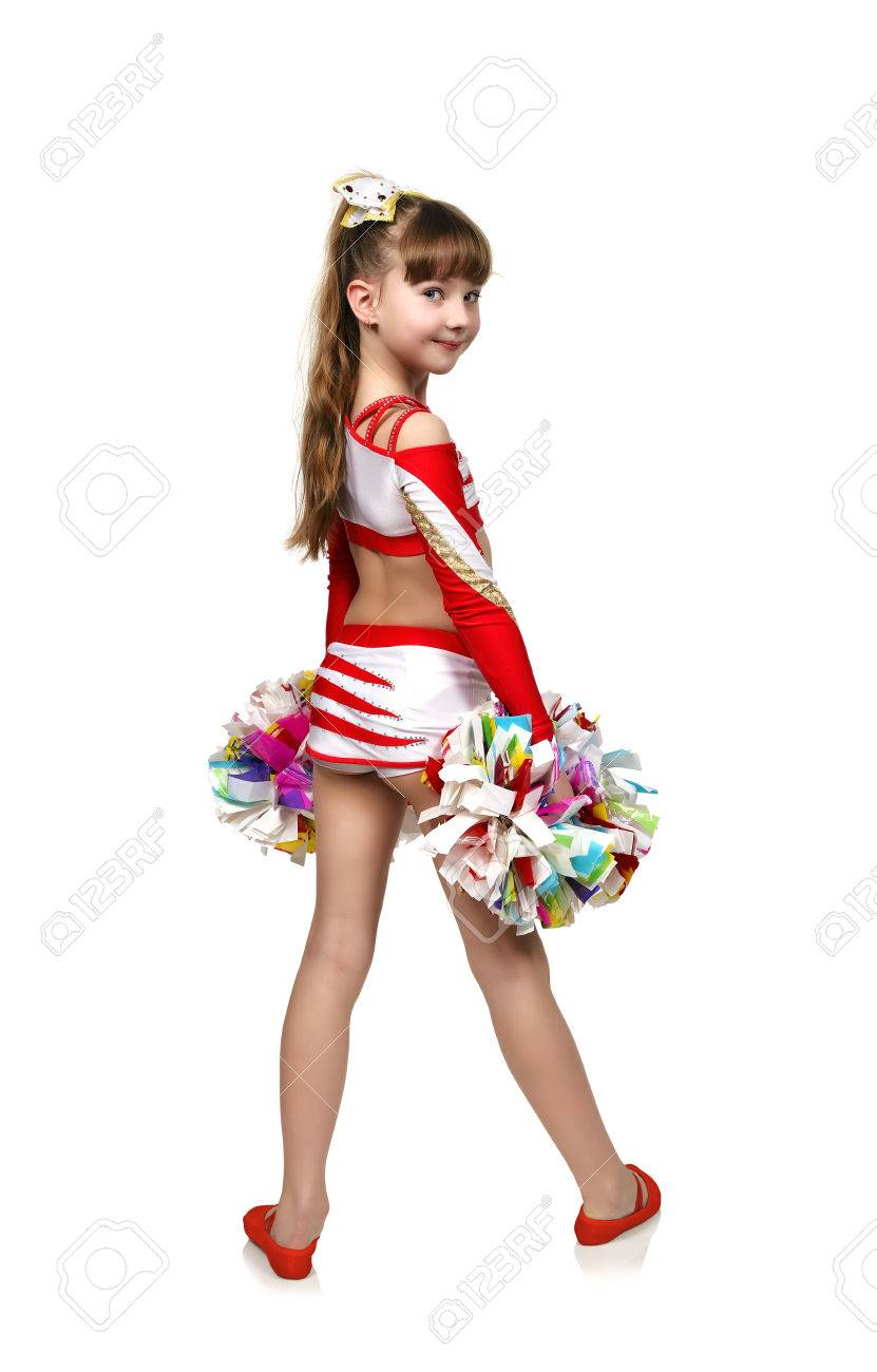 Stock Photo Young Cheerleading Girl With Pom In Hand