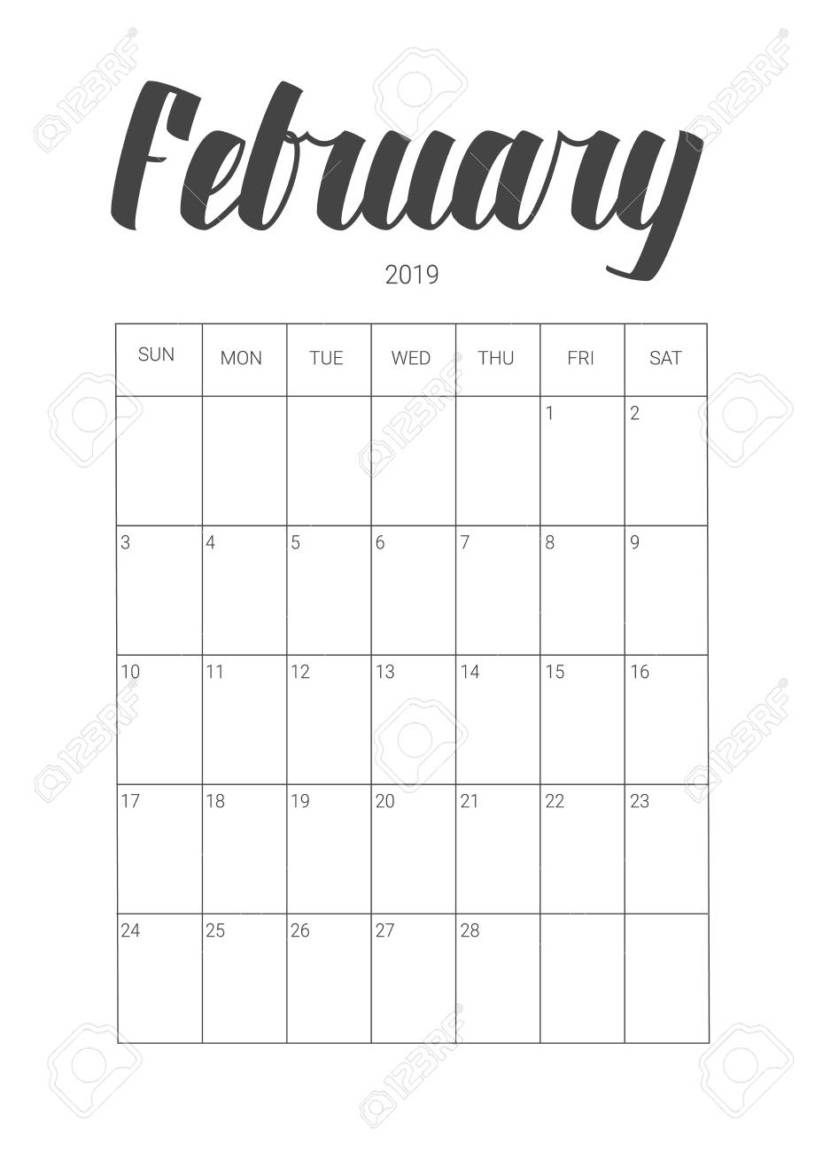 February 2019 Calligraphy Calendar Vector Calendar Planner For February 2019. Handwritten Lettering
