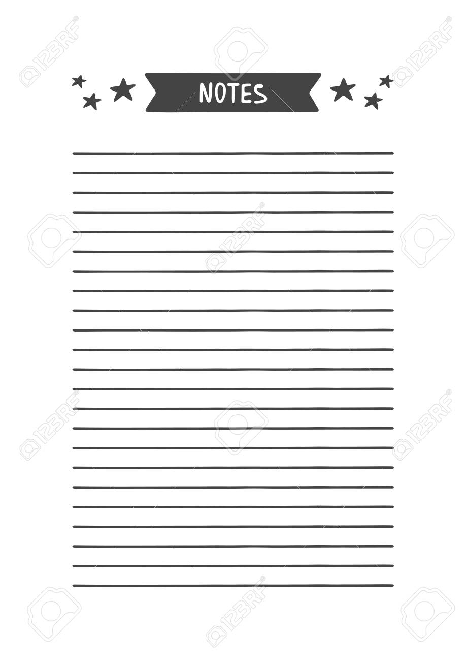 photo regarding Notes Printable named Notes. Vector Template for Schedule, Planner and Other Stationery