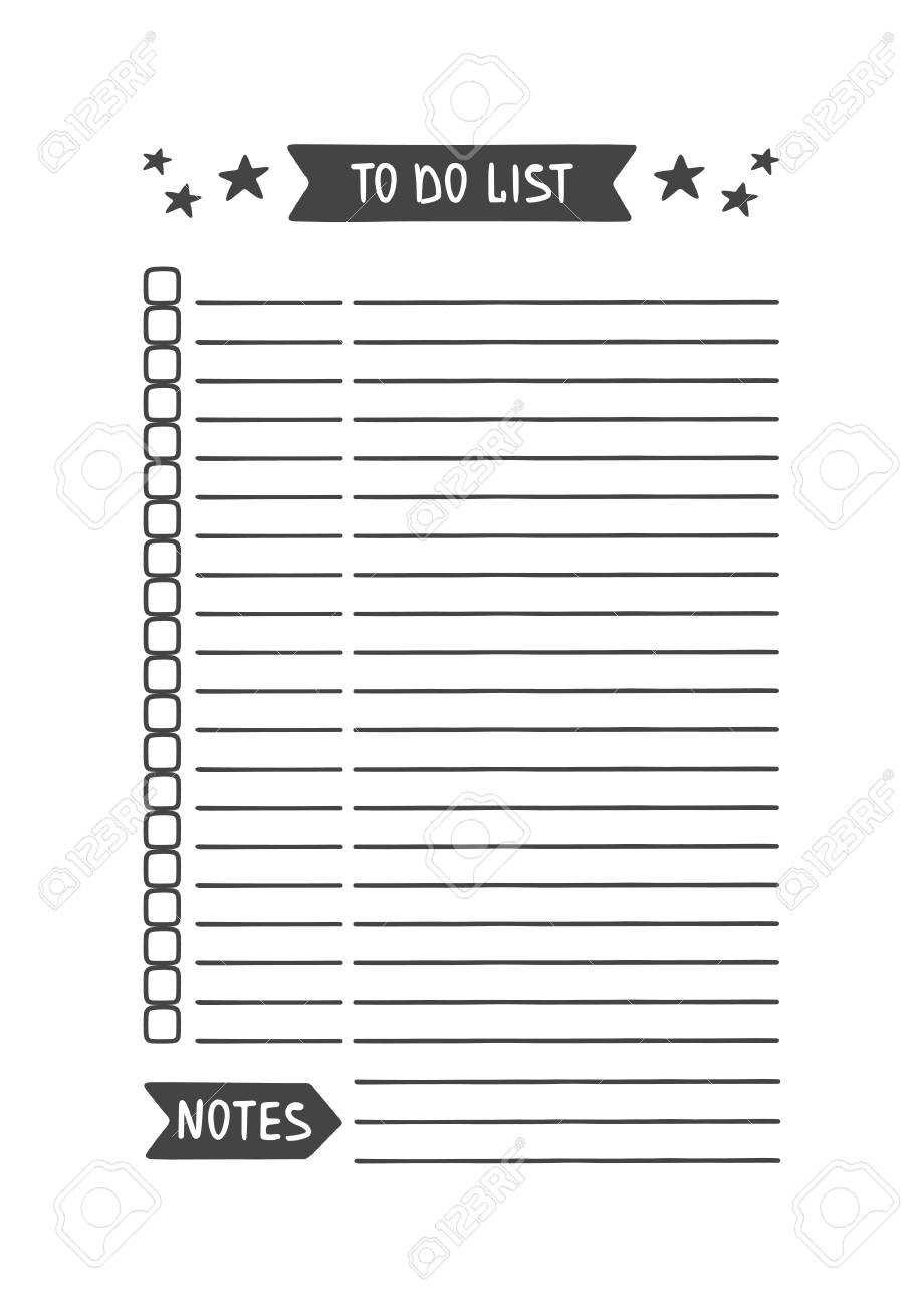 To Do List. Vector Template For Agenda, Planner And Other ...