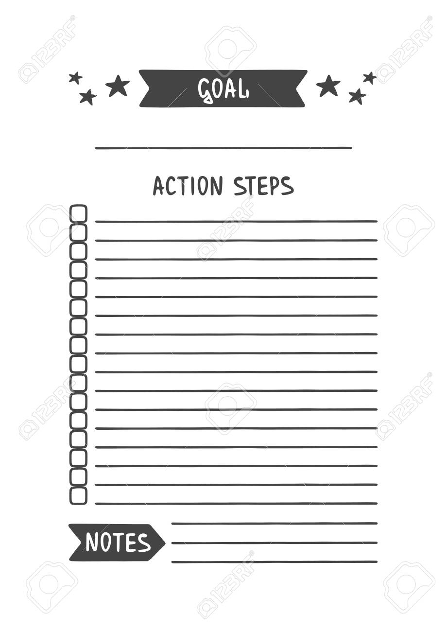 photo regarding Goal Printable known as Intent. Vector Template for Program, Planner and Other Stationery