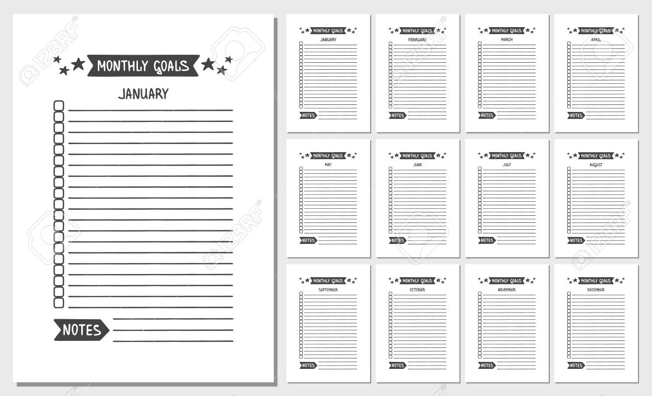 photograph about Monthly Goals Template called Month-to-month Aims. Vector Template for Routine, Planner and Other..