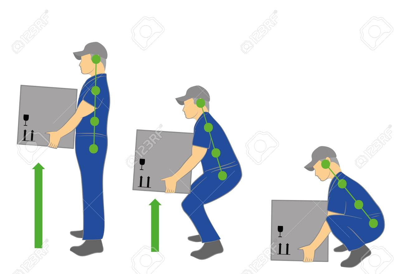Correct posture to lift. Illustration of health care. Vector illustration - 80100815